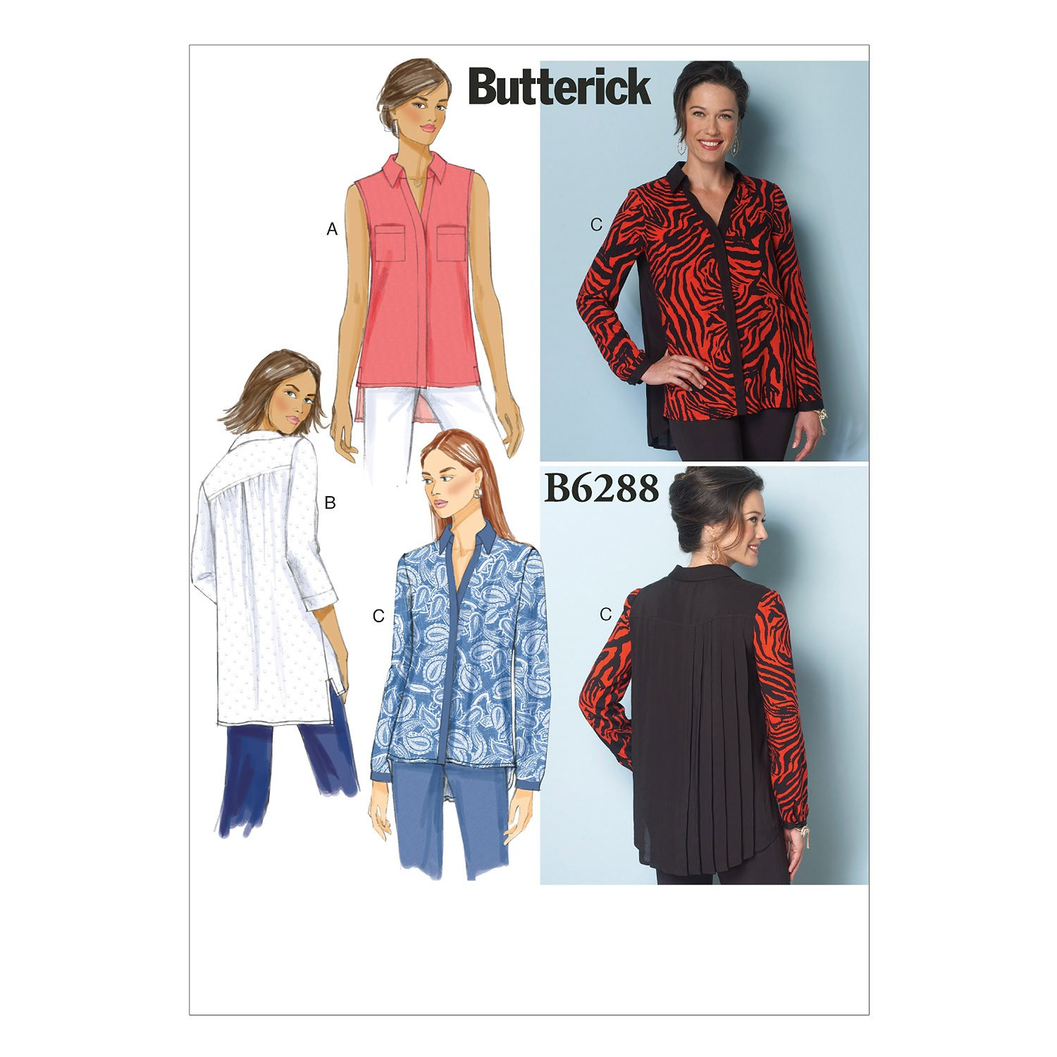 Butterick Sewing Pattern 6288 Misses Loose Fitting Shirt