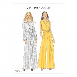 Vogue Sewing Pattern V9245 Women's Misses' Petite Button-Up Jumpsuits And Sash