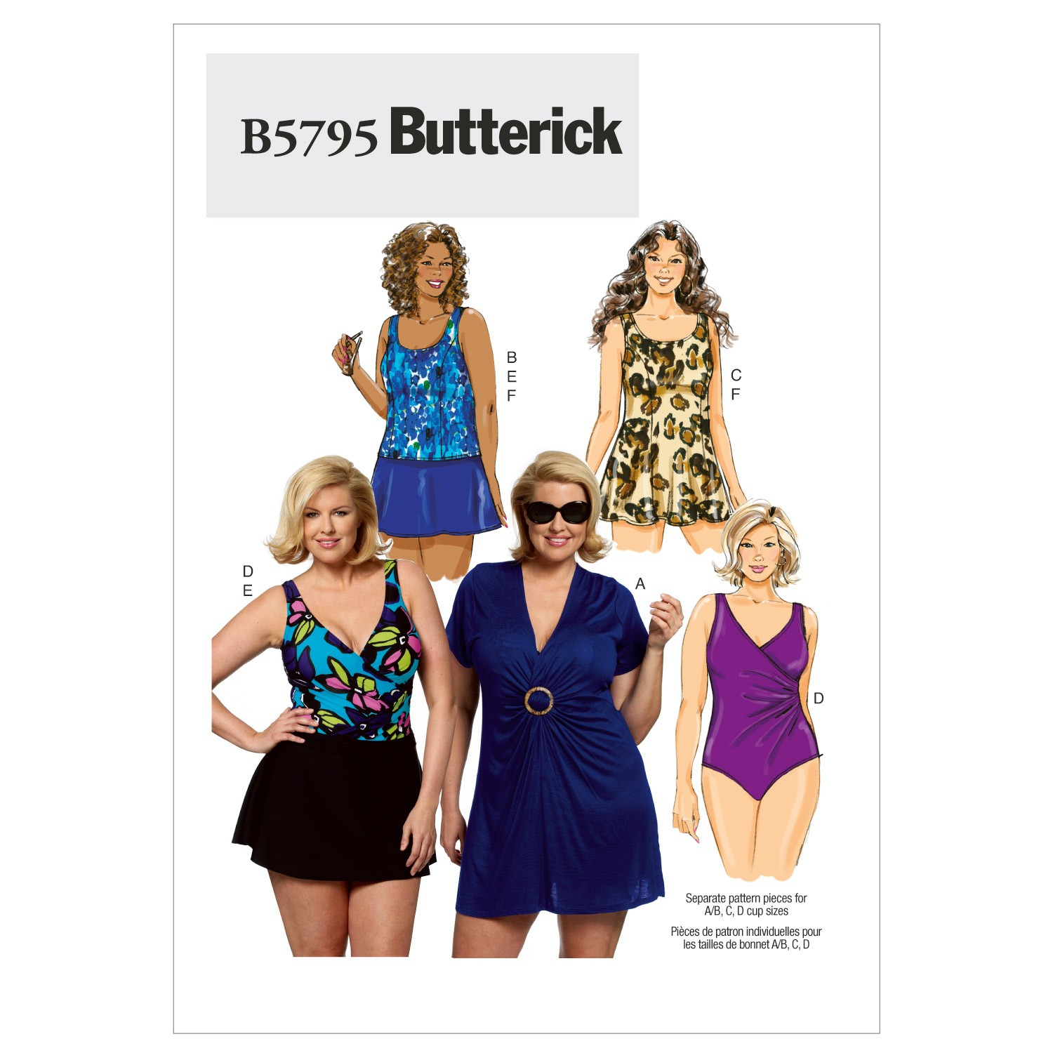 Butterick Sewing Pattern 5795 Women's Cover Up Top Swimsuit Skirt & Briefs