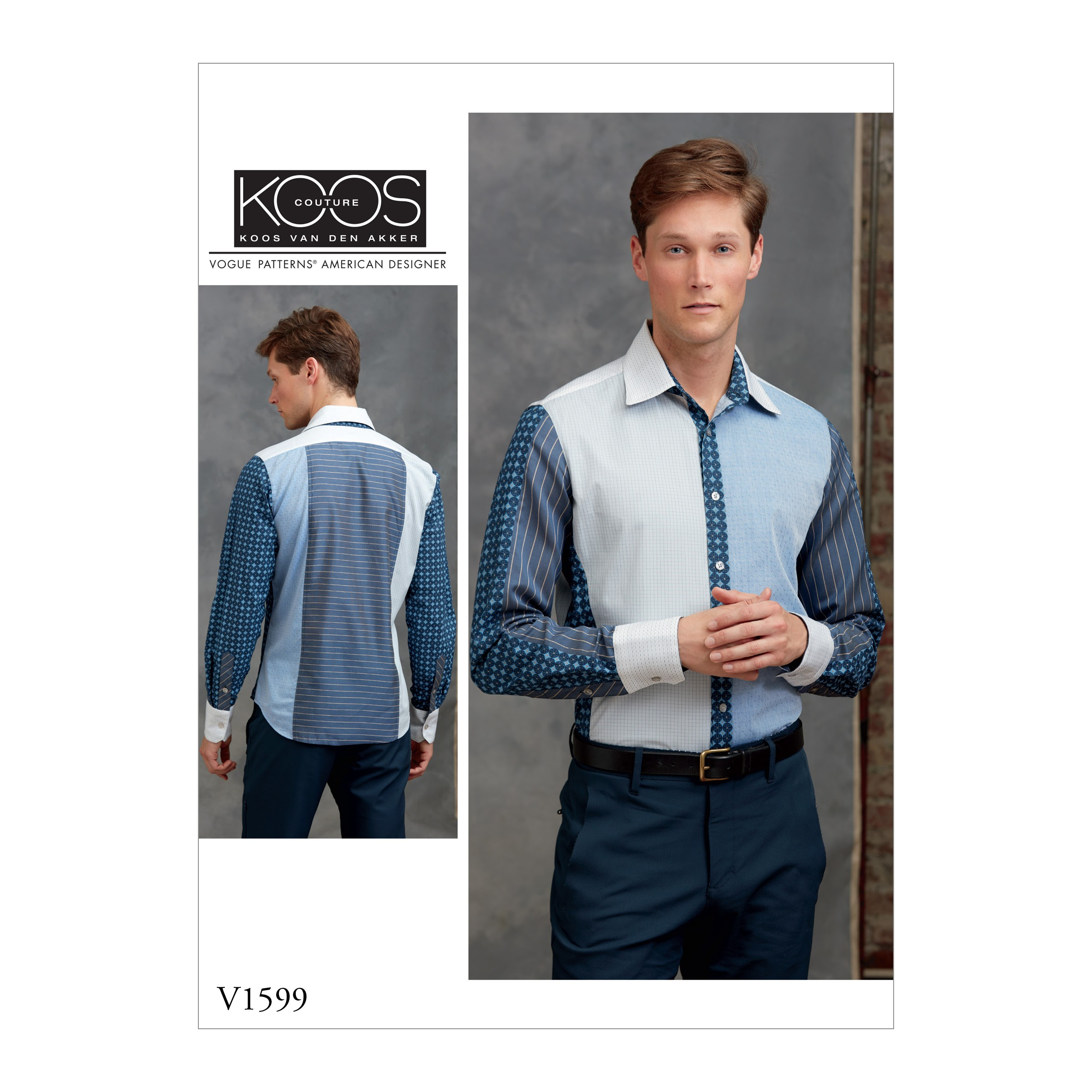 Vogue Sewing Pattern V1599 Men's Contrast Panel Long Sleeve Shirt