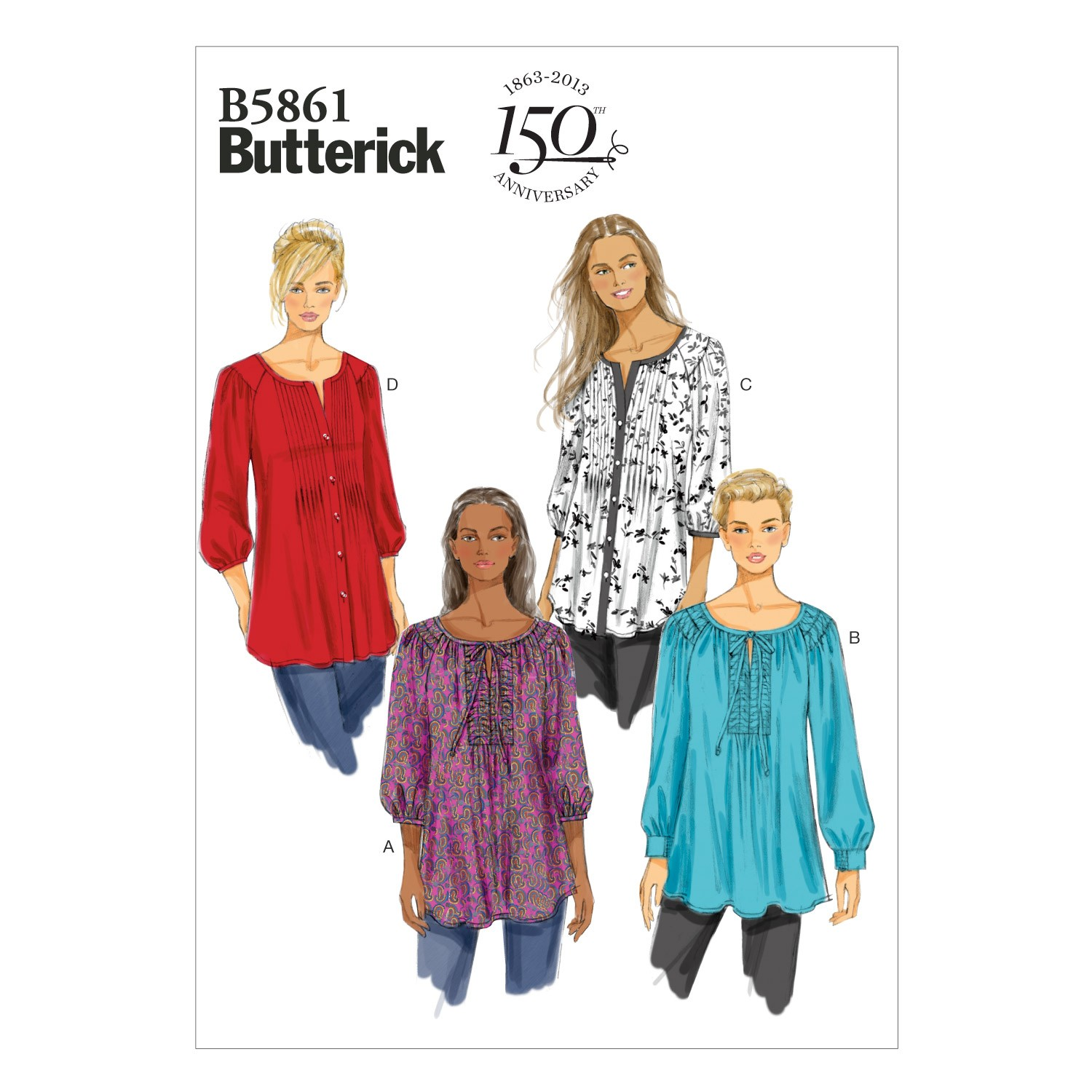 Butterick Sewing Pattern 5861 Misses' Tunic Pullover Top