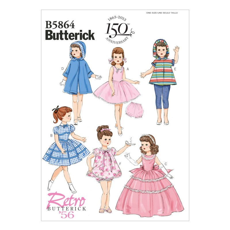 """Butterick Sewing Pattern 6864 18"""" Doll Clothes Dress Hoodie Trousers"""