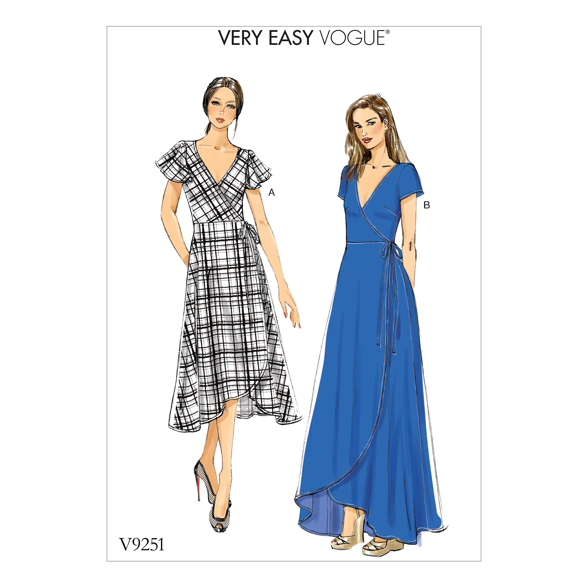 Vogue Sewing Pattern V9251 Women's Misses' Wrap Dresses With Ties Sleeves
