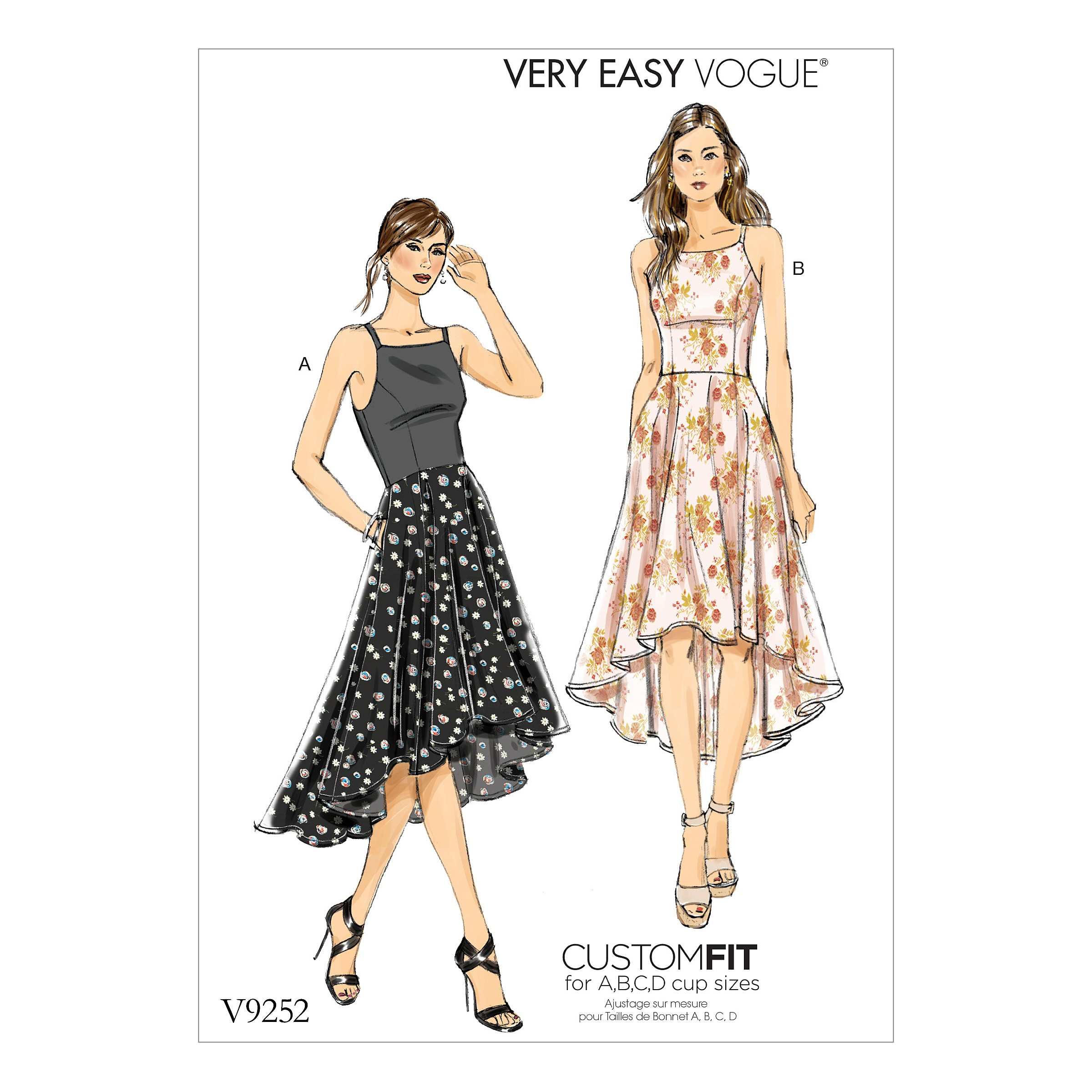 Vogue Sewing Pattern V9252 Women's Princess Seam High Low Dresses With Pockets