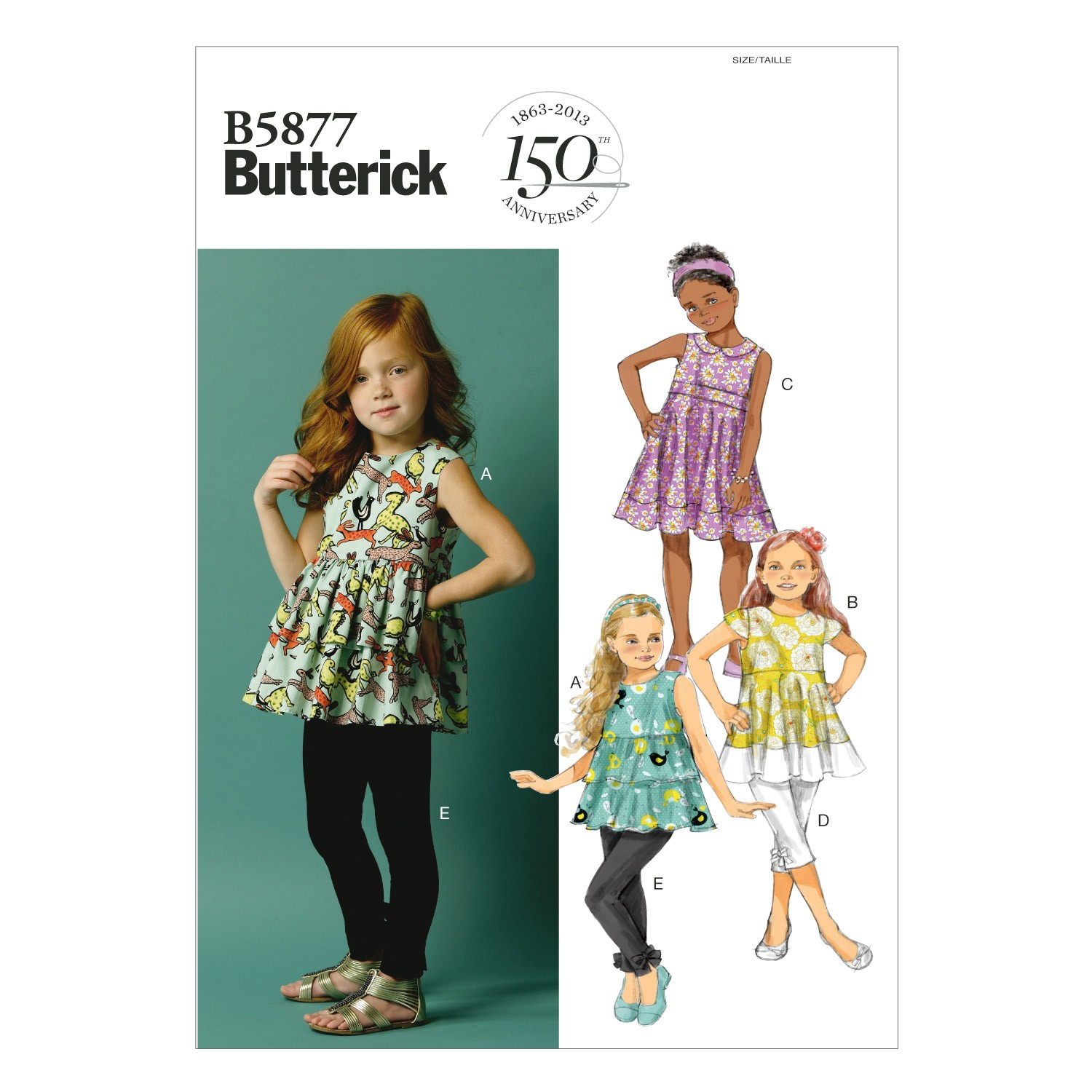 Butterick Sewing Pattern 5877 Children's Girl's Top Tunic Dress & Leggings