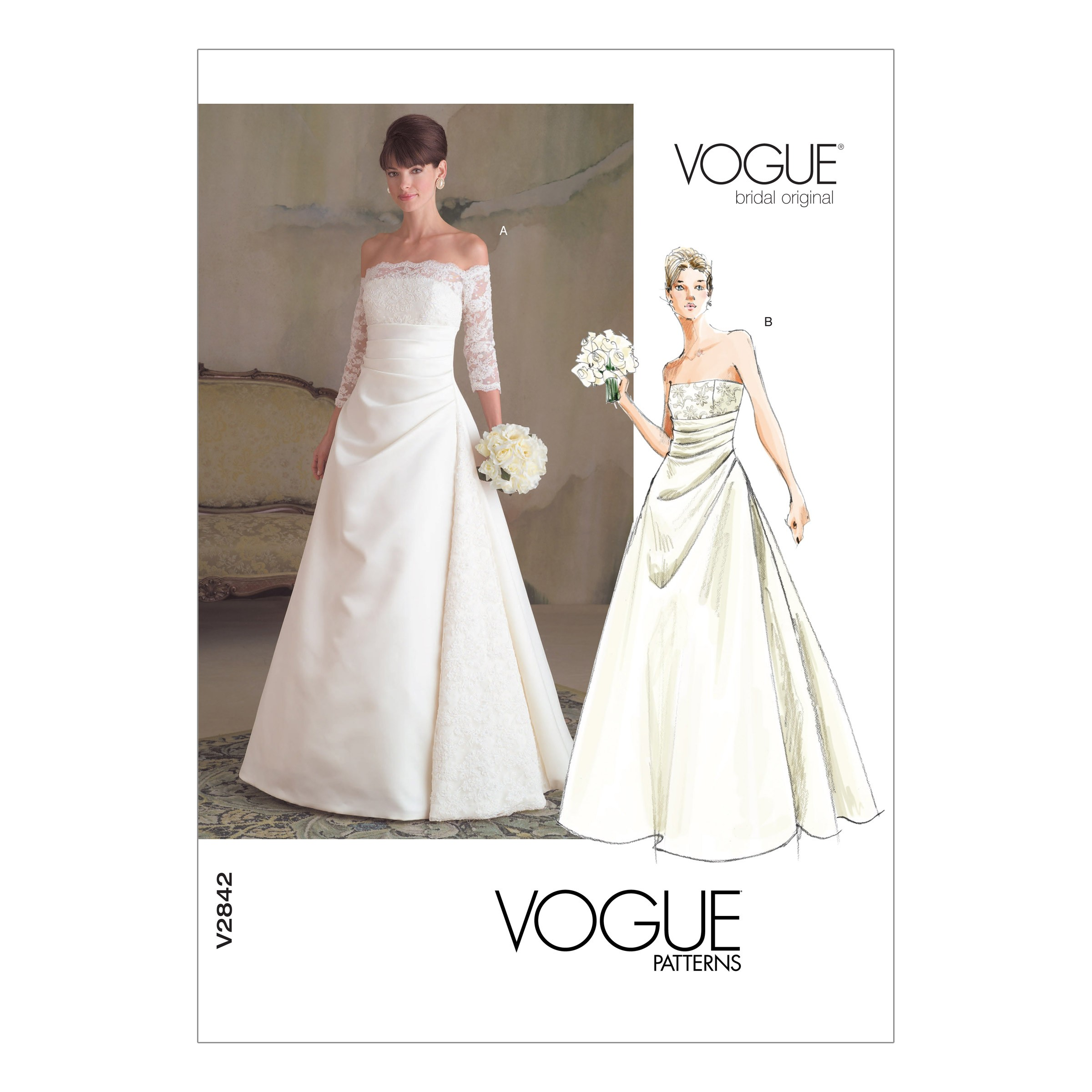 Vogue Sewing Pattern V2842 Women's Off the Shoulder or Sleeveless Dress