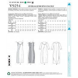 Vogue Sewing Pattern V9254 Women's Pullover Dresses With Asymmetrical Front