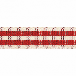 Red 7mm x 5m Berisfords Rustic Gingham Polyester Craft Ribbon