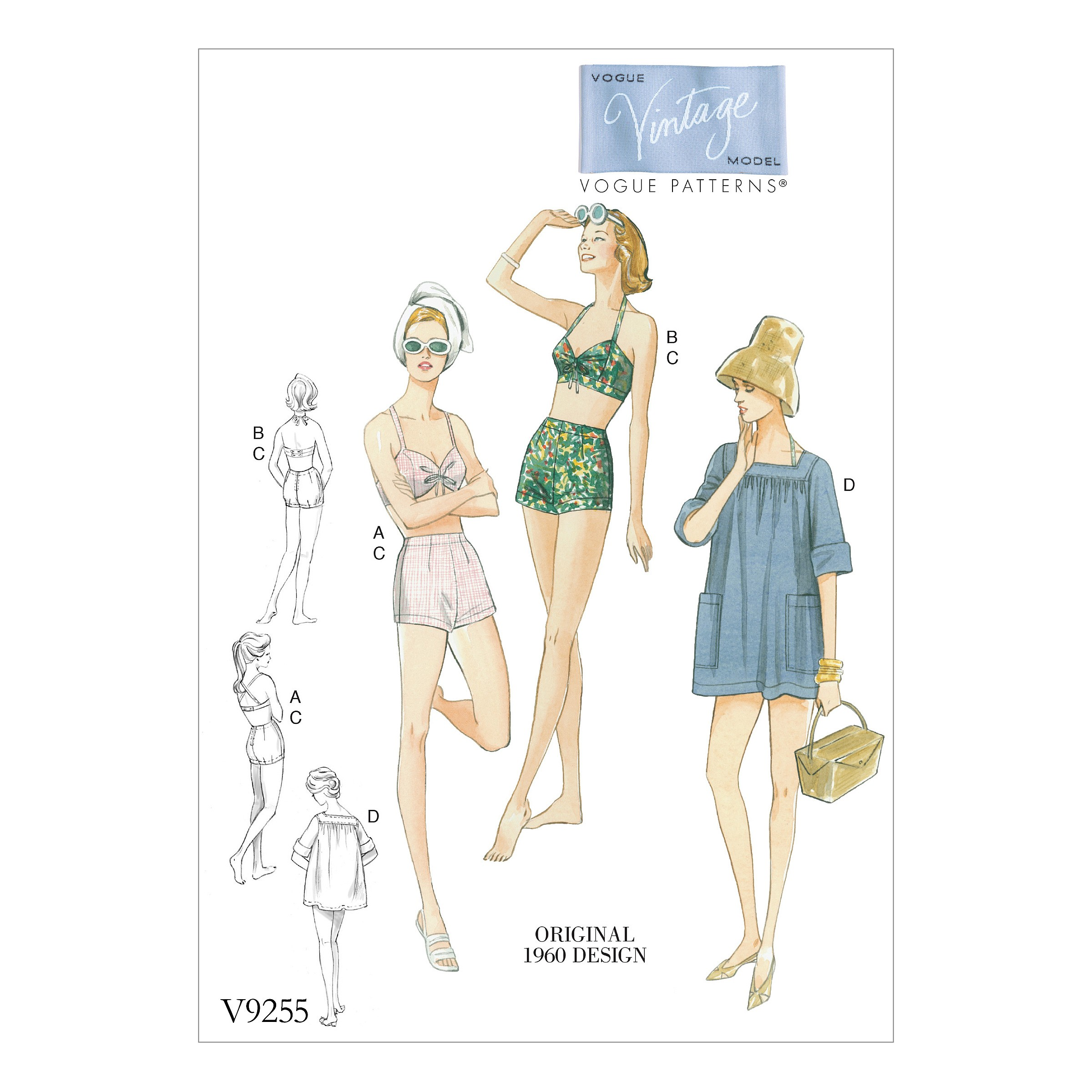 Vogue Sewing Pattern V9255 Women's Vintage Bra Shorts And Cover Up With Pockets