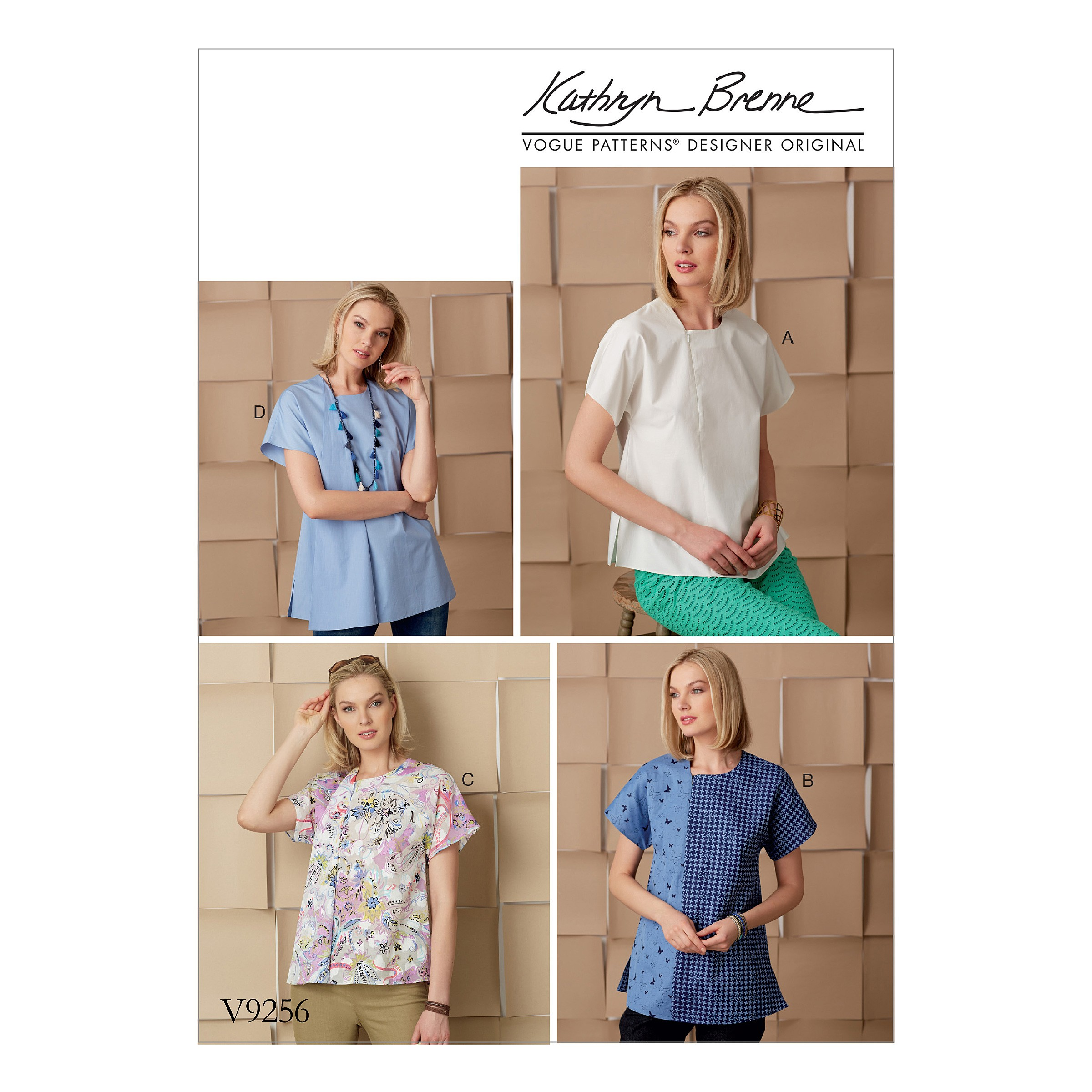 Vogue Sewing Pattern V9256 Women's Top With Invisible Zipper & Self Fabric Underlay
