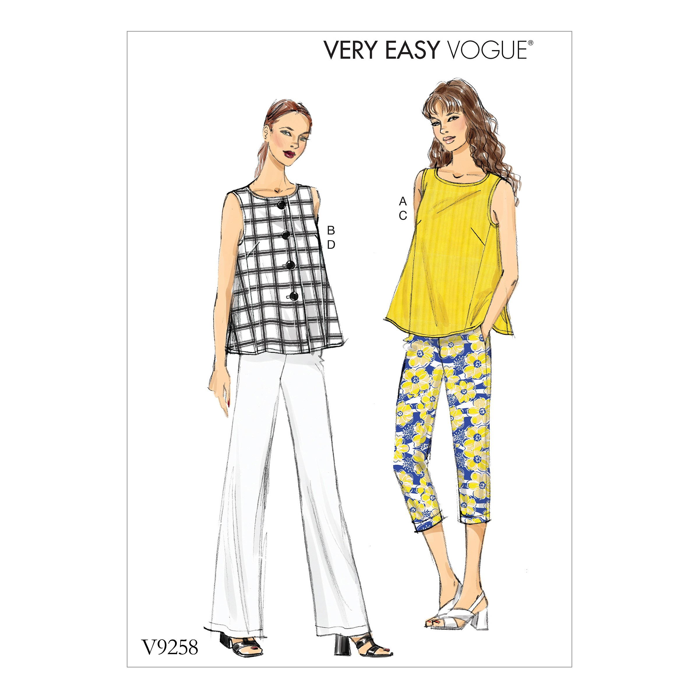 Vogue Sewing Pattern V9258 Women's Sleeveless Tops With Pull-On Pants