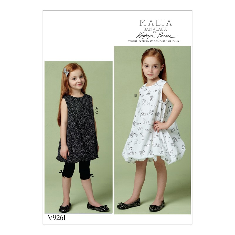 Vogue Sewing Pattern V9261 Children's Tunic And Dress With Bubble Hem & Leggings