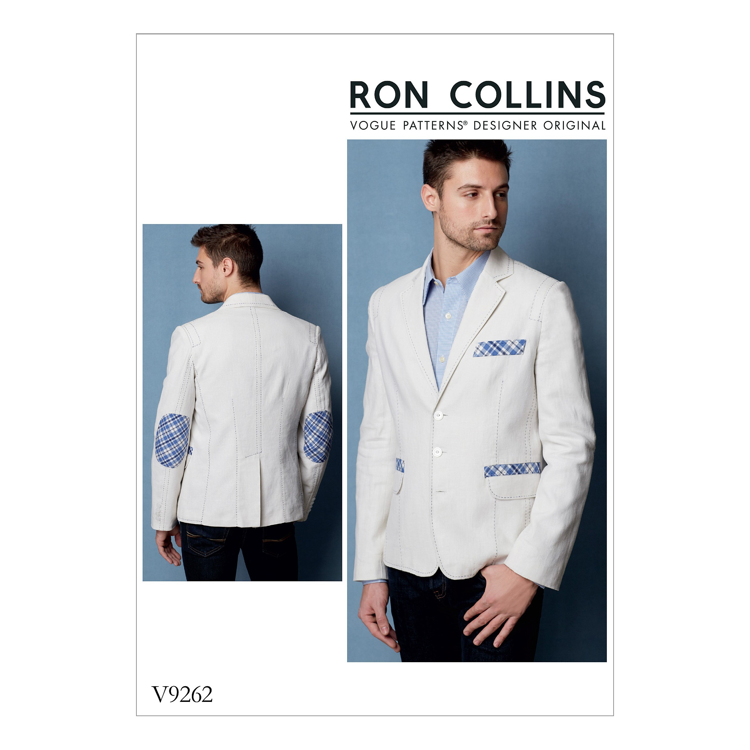 Vogue Sewing Pattern V9262 Men's Lined Jacket With Contrast Top Stitching