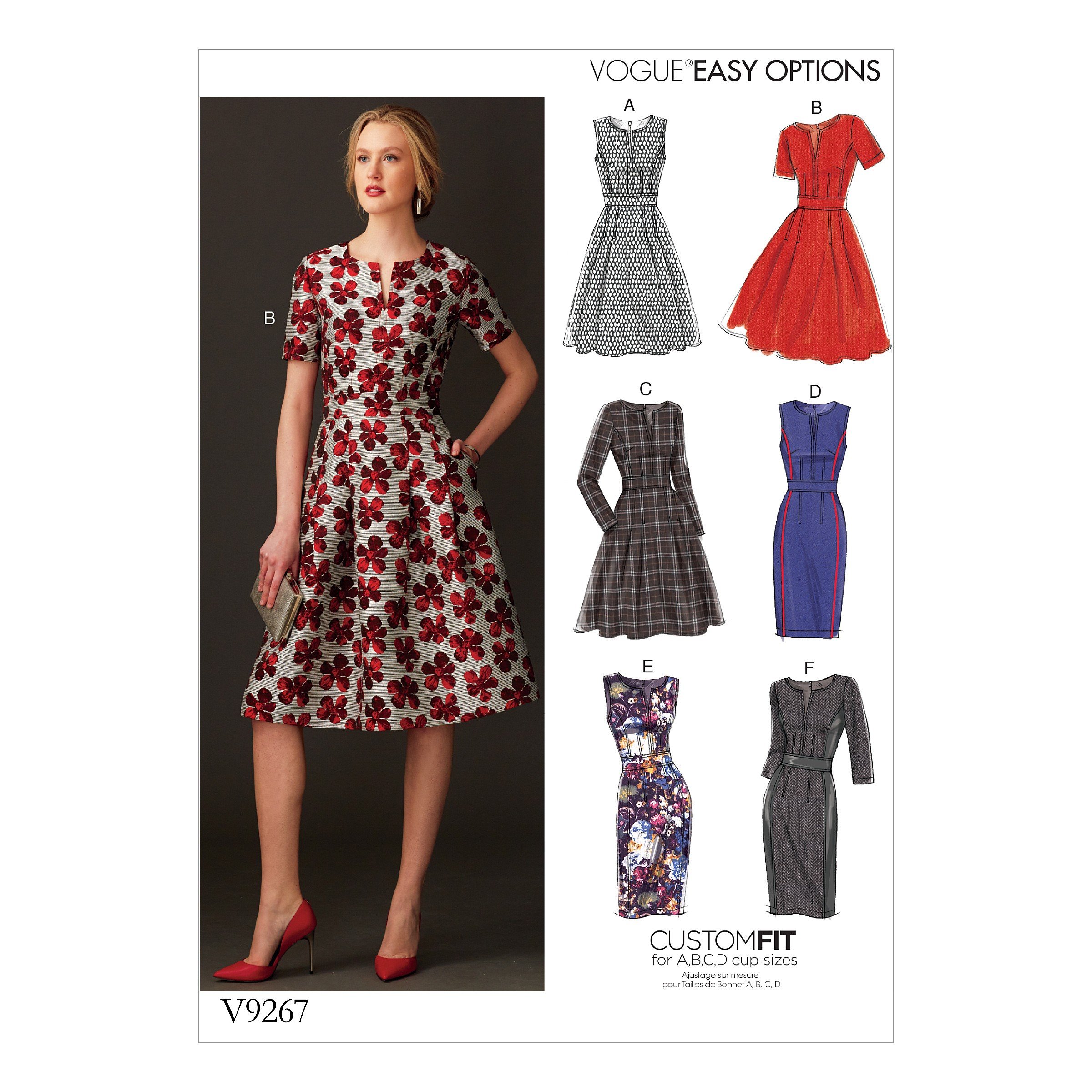Vogue Sewing Pattern V9267 Women's Fit & Flare Dresses With Waistband & Pockets