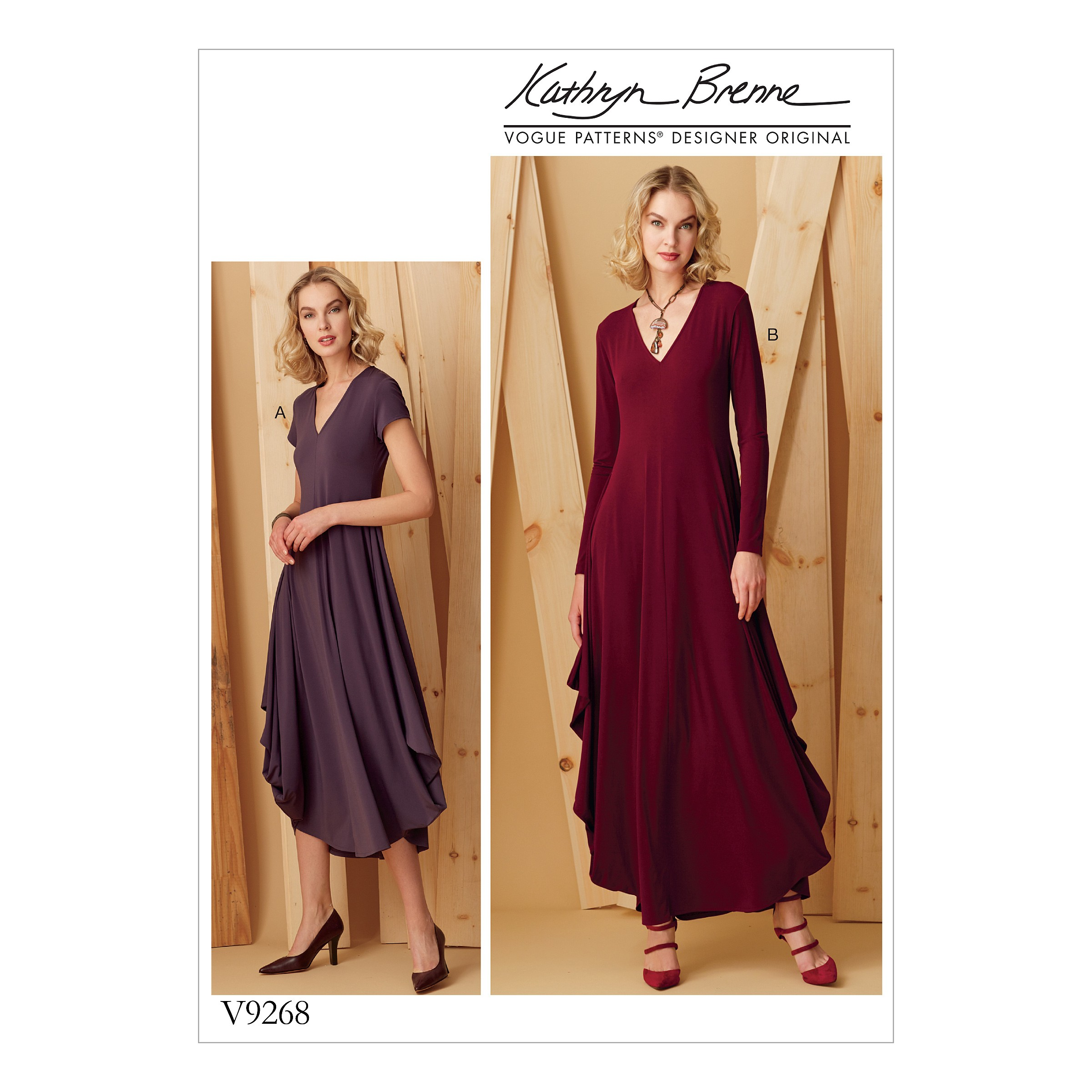 Vogue Sewing Pattern V9268 Women's Knit V-Neck & Draped Dresses