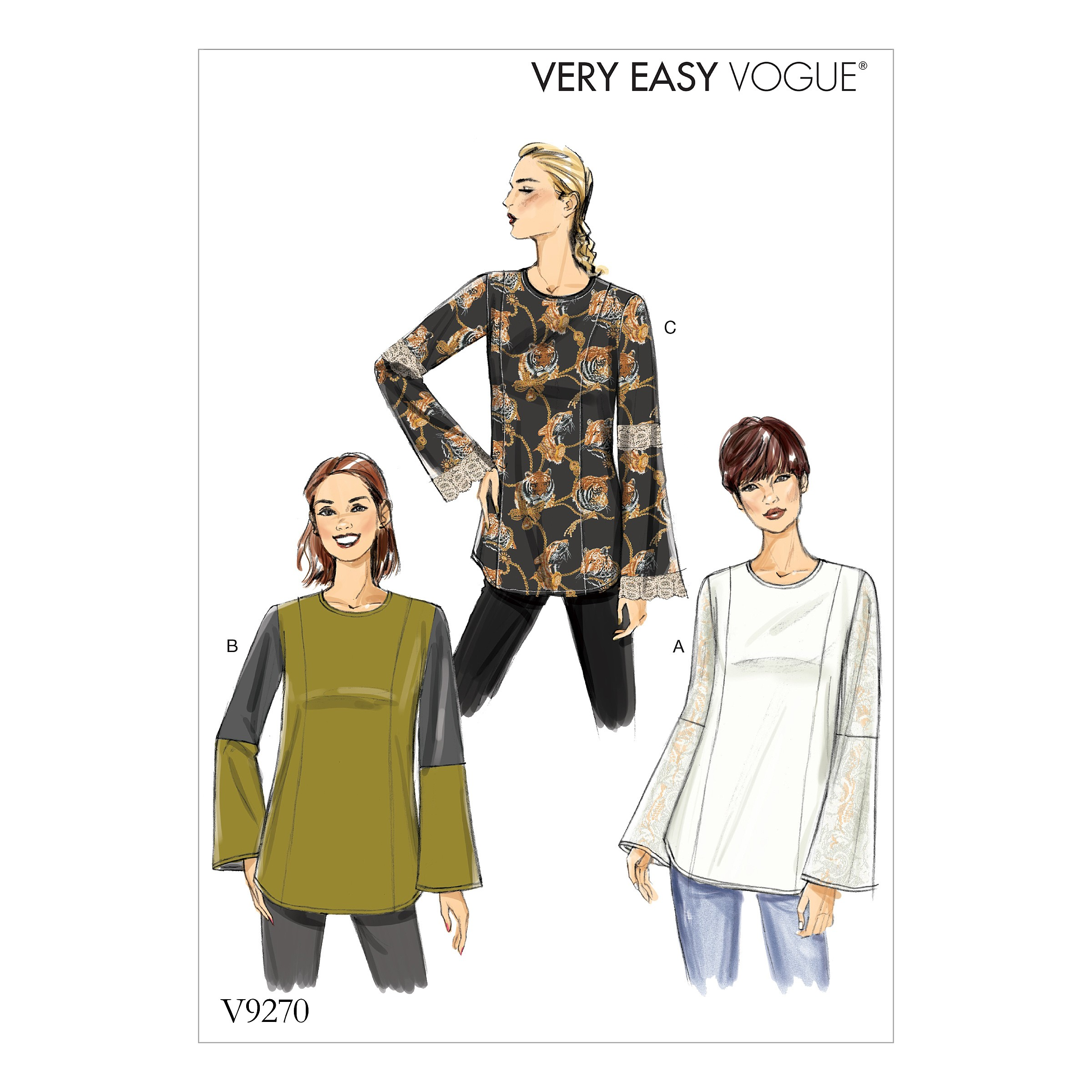 Vogue Sewing Pattern V9270 Women's Princess Seam Tunics With Zipper