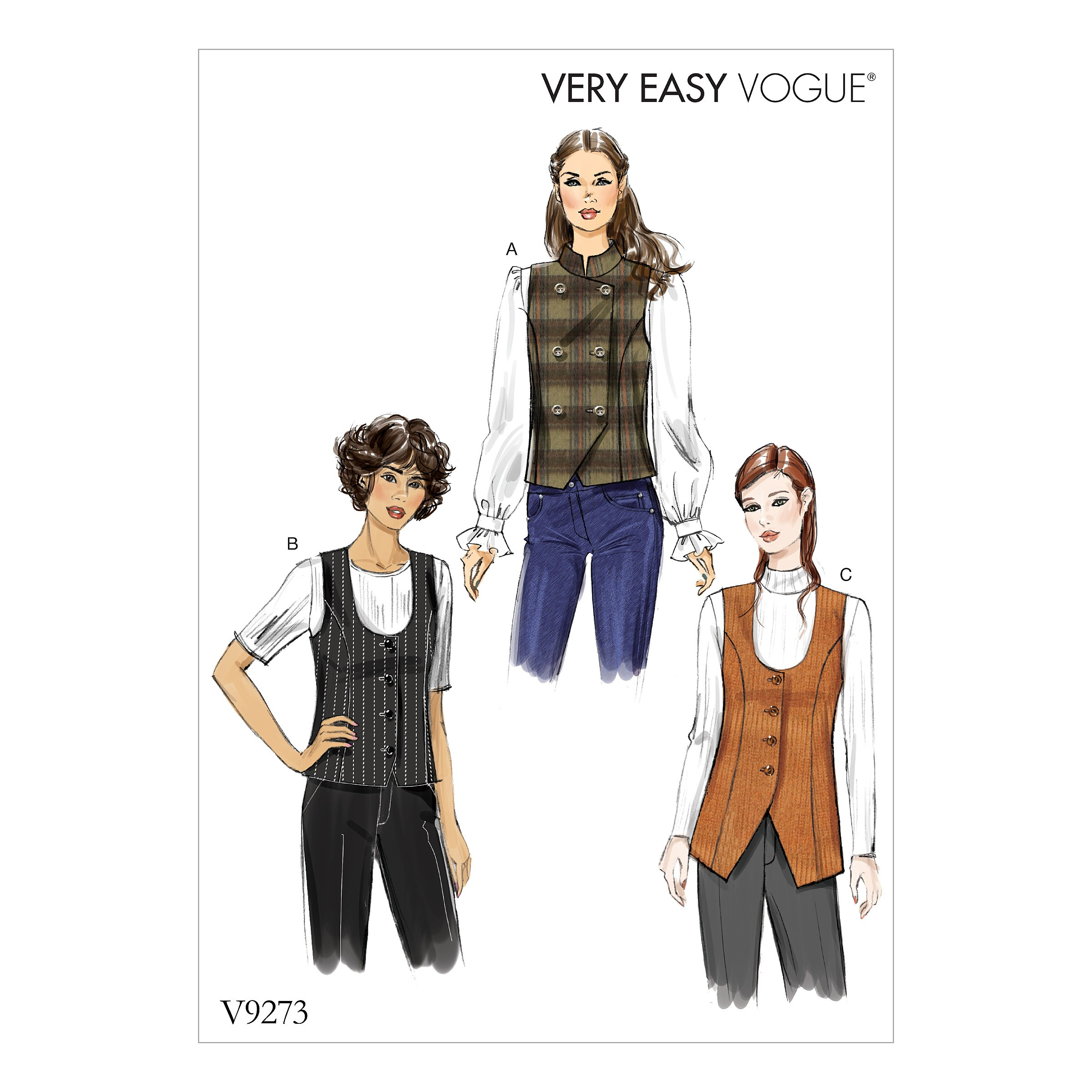 Vogue Sewing Pattern V9273 Women's Lines Vest With Princess Seams