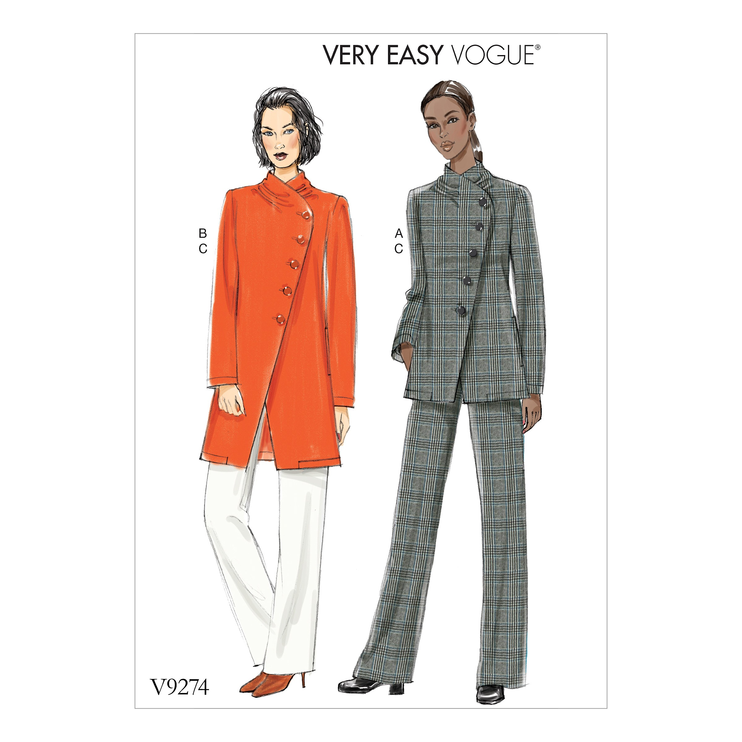 Vogue Sewing Pattern V9274 Women's Asymmetrical Lined Jacket & Pull On Trousers