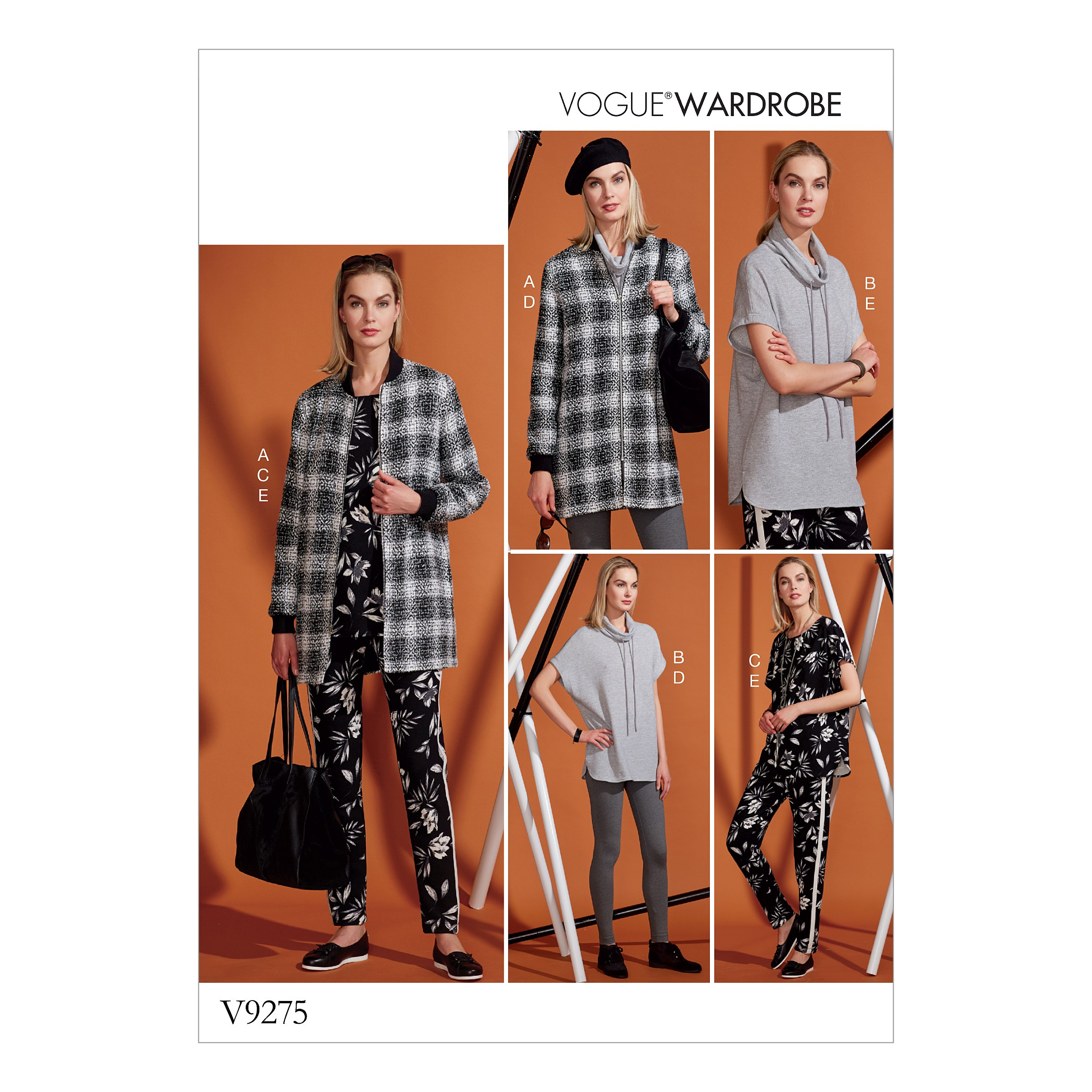 Vogue Sewing Pattern V9275 Women's Lined Zip Jacket Knit Tunic & Trousers