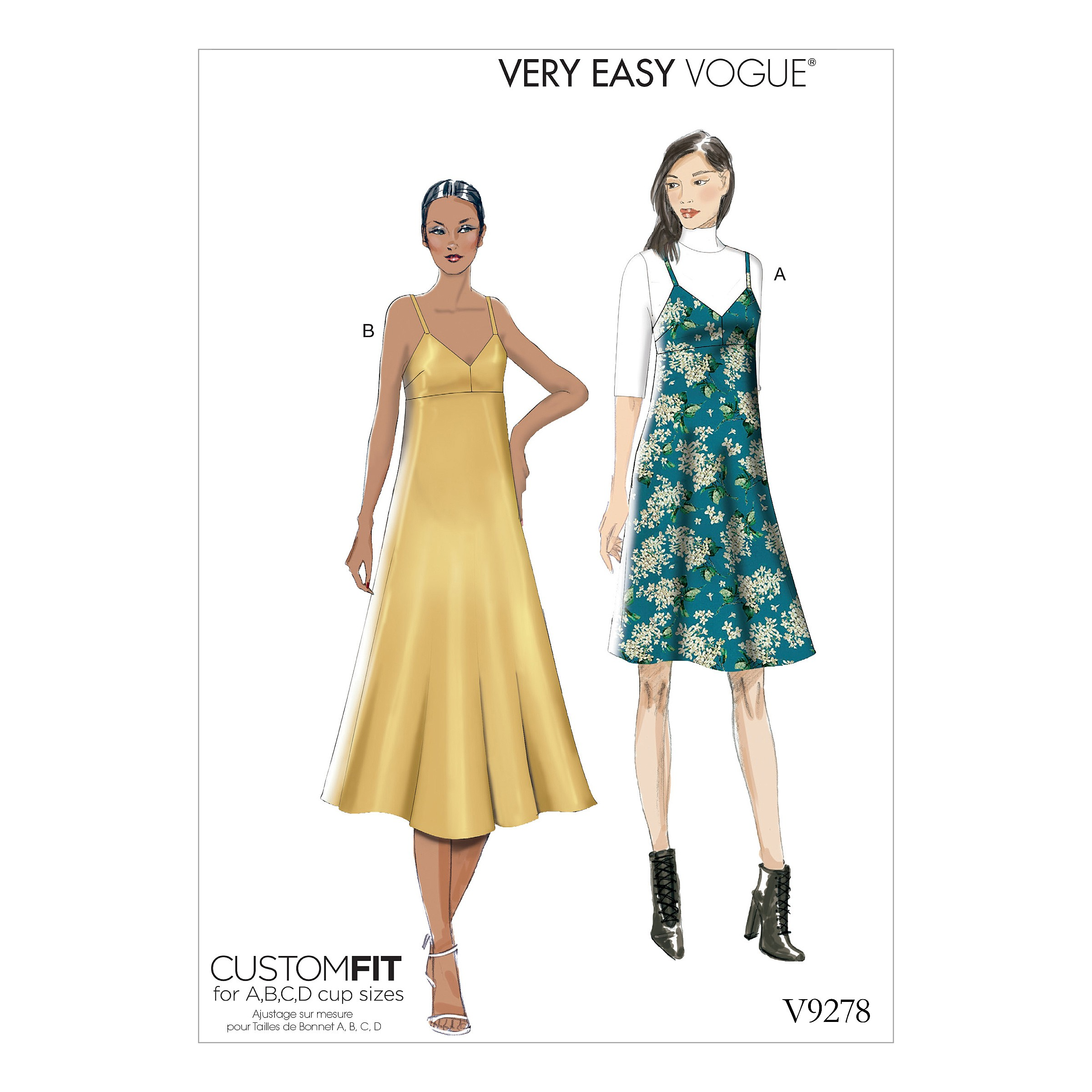 Vogue Sewing Pattern V9278 Women's Slip Style Dress With Back Zipper