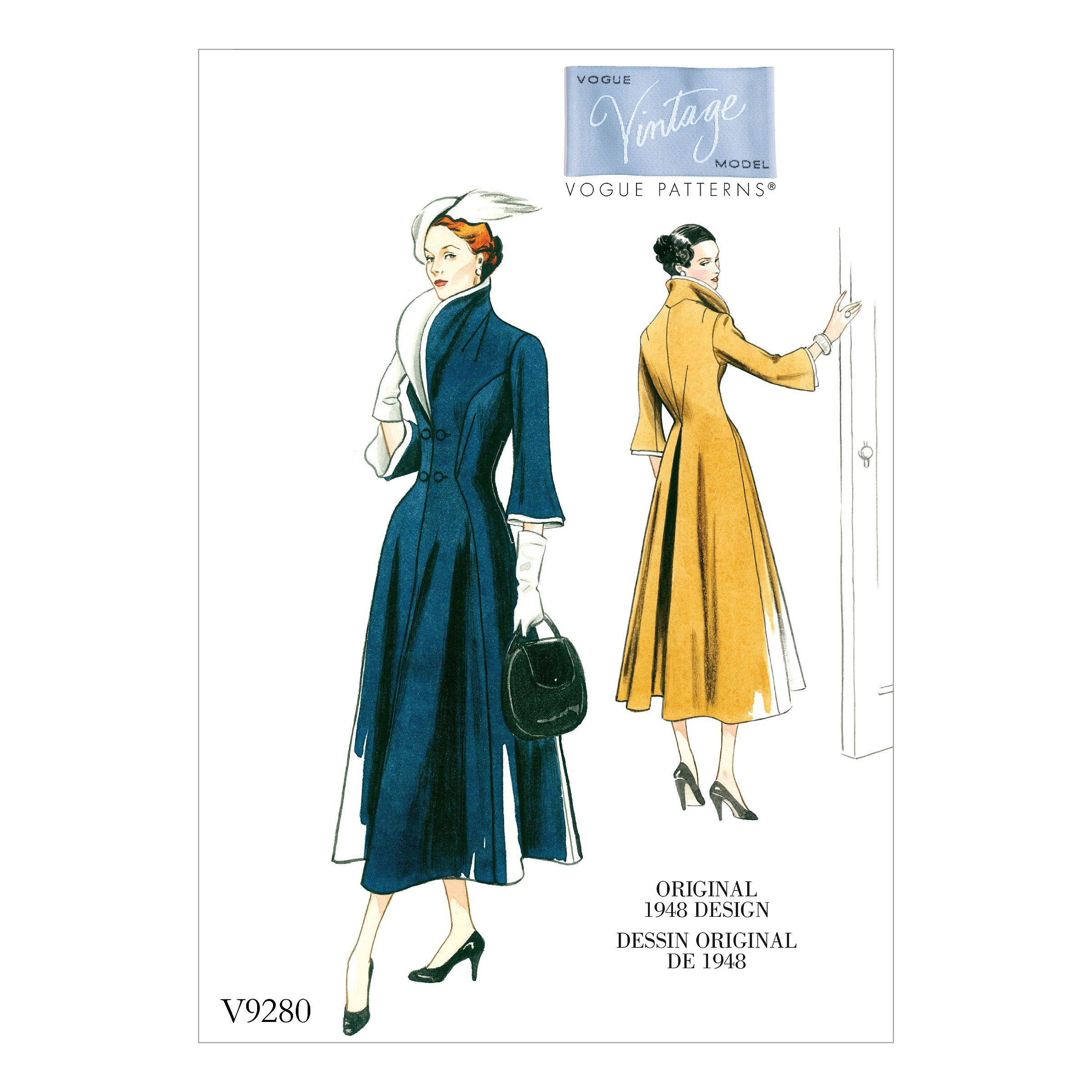 Vogue Sewing Pattern V9280 Women's Vintage High Collar Fit & Flare Dress