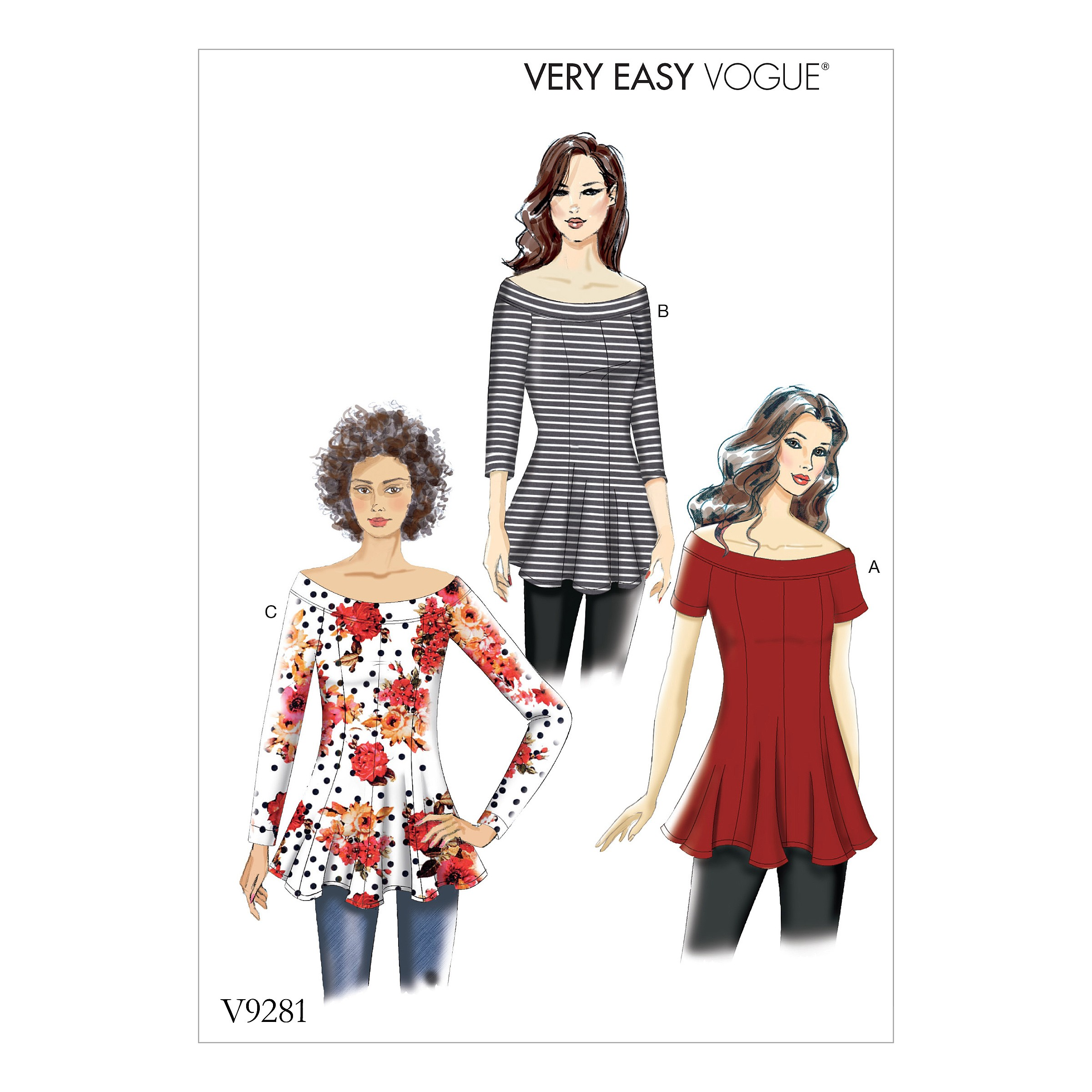 Vogue Sewing Pattern V9281 Women's Knit Flare And Flare Top