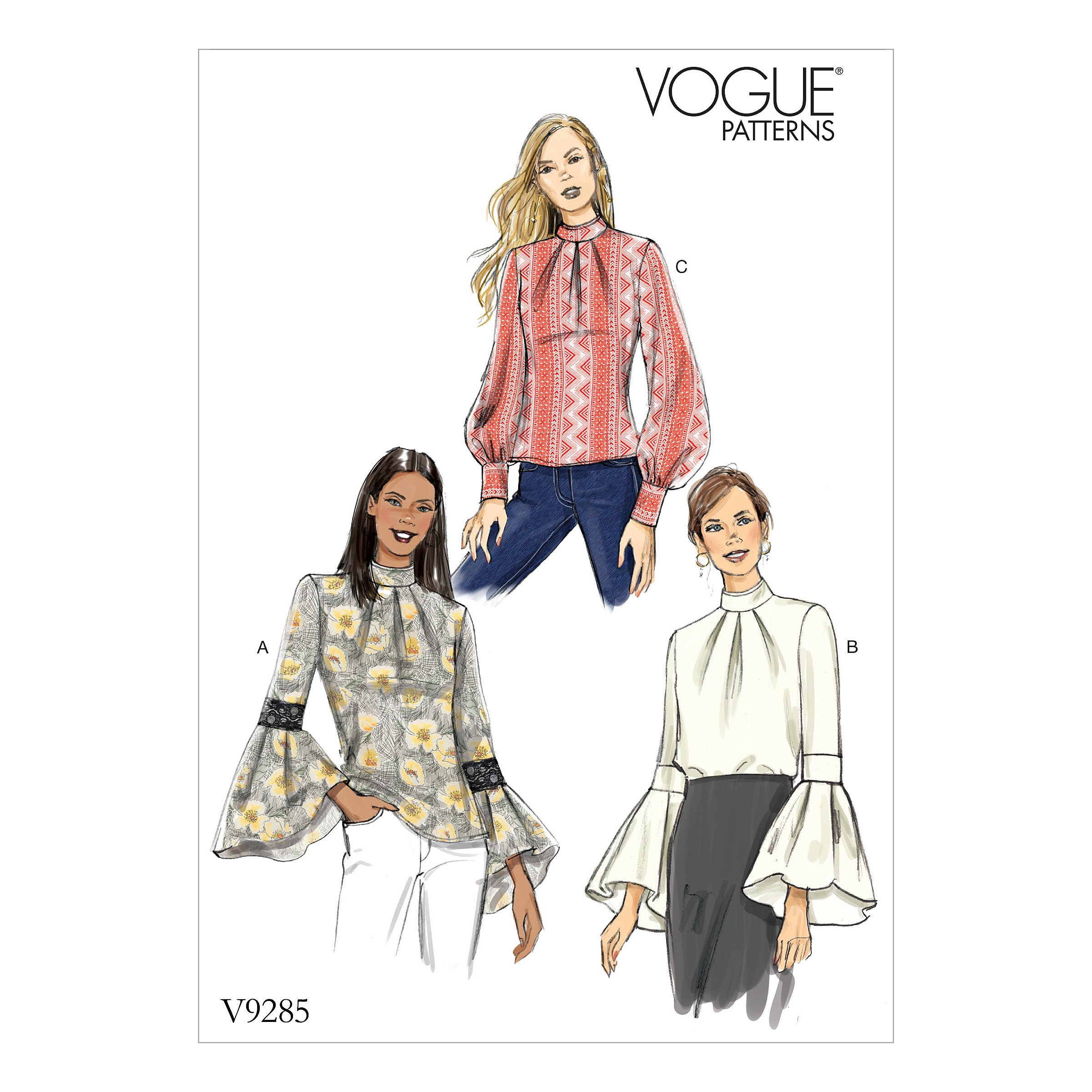 Vogue Sewing Pattern V9285 Women's Top With Sleeve & Cuff Variations