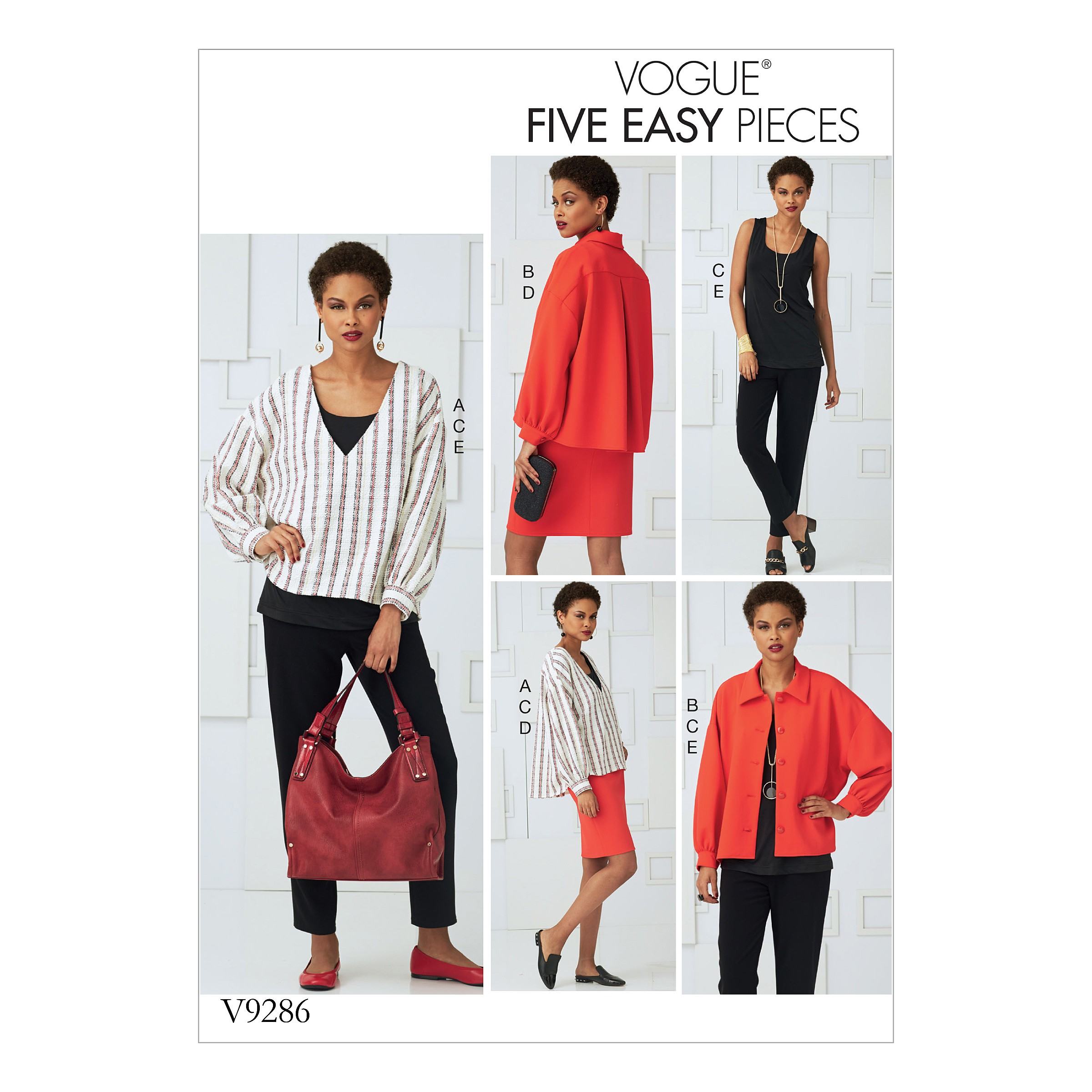 Vogue Sewing Pattern V9286 Women's Misses' Top Straight Skirt And Trousers