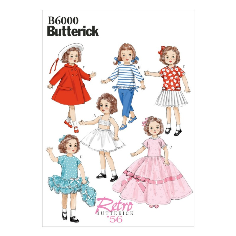 "Butterick Sewing Pattern 6000 18"" Doll Clothes Dress Top Skirt Trousers"
