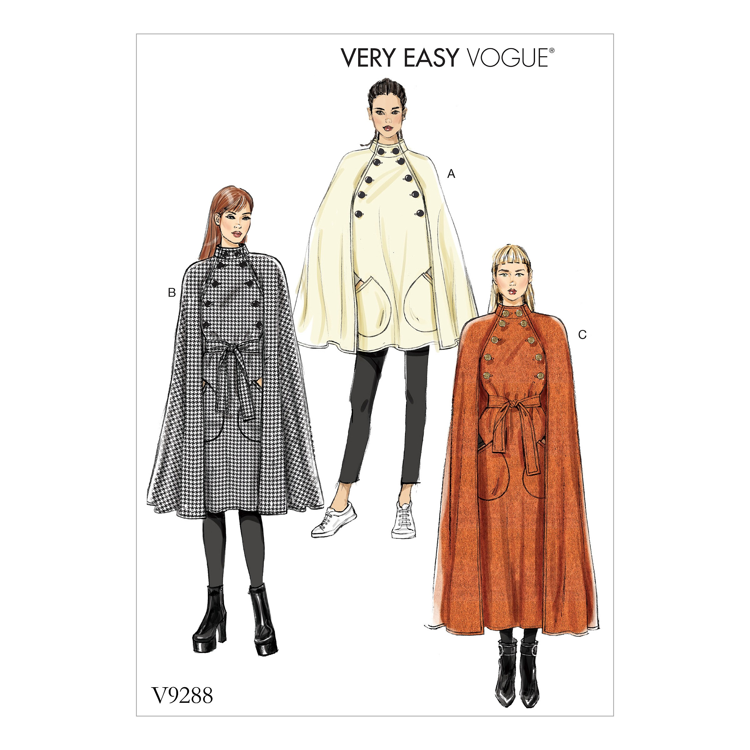 Vogue Sewing Pattern V9288 Women's Cape With Stand Collar Pockets & Belt