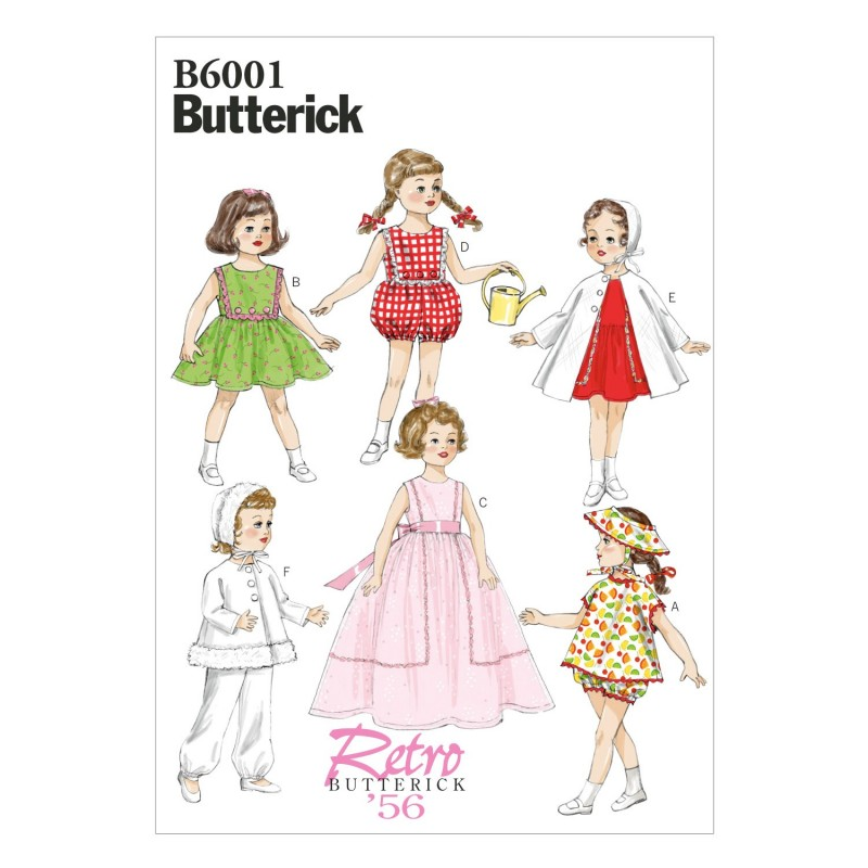 "Butterick Sewing Pattern 6001 18"" Doll Clothes Dress Top Skirt"
