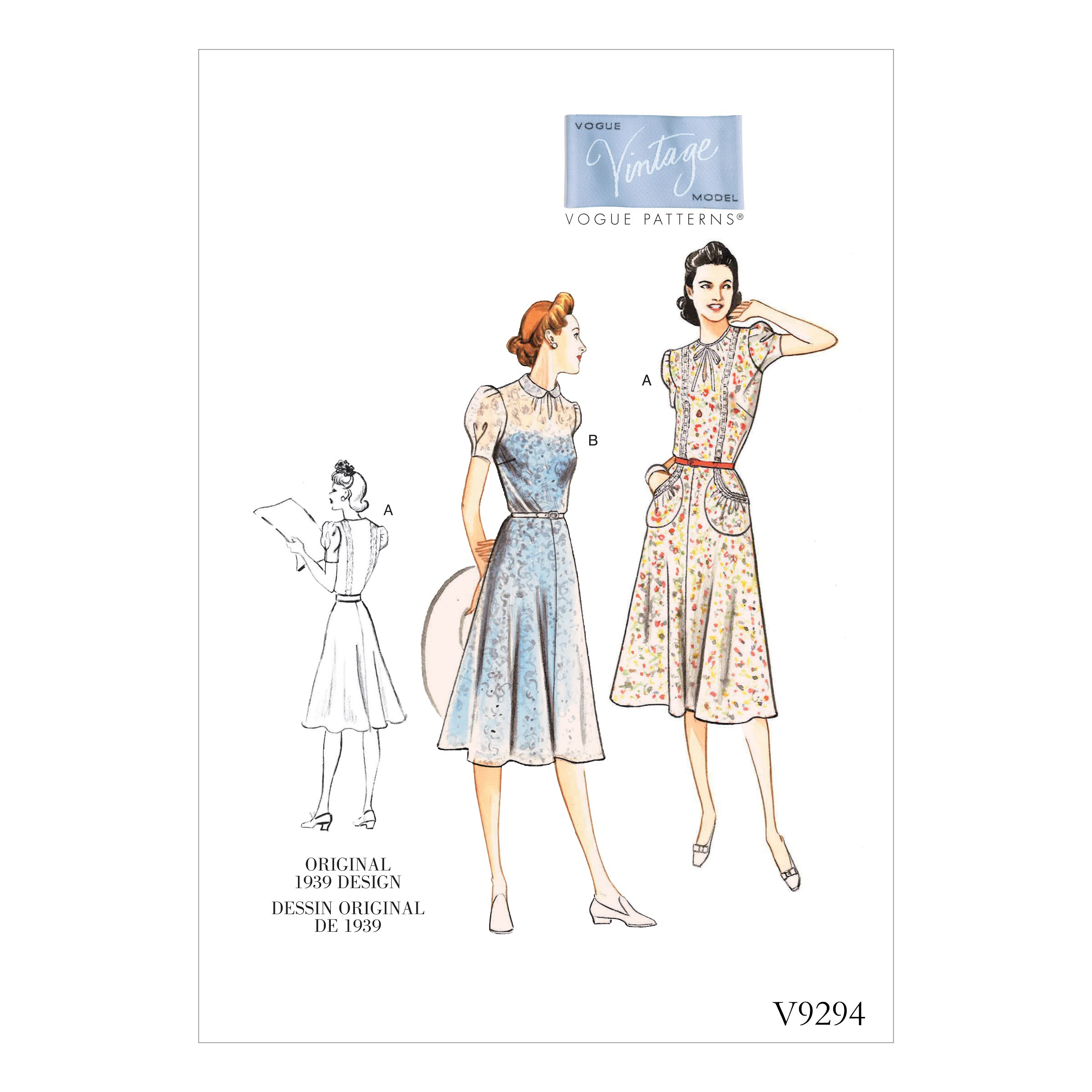 Vogue Sewing Pattern V9294 Women's Misses' Vintage Dress Gathered Sleeves