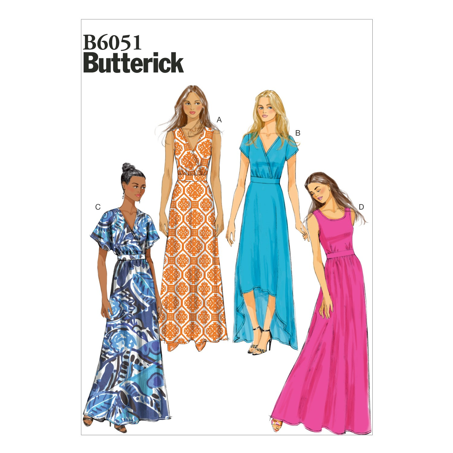 Butterick Sewing Pattern 6051 Misses' Pullover Long Dress
