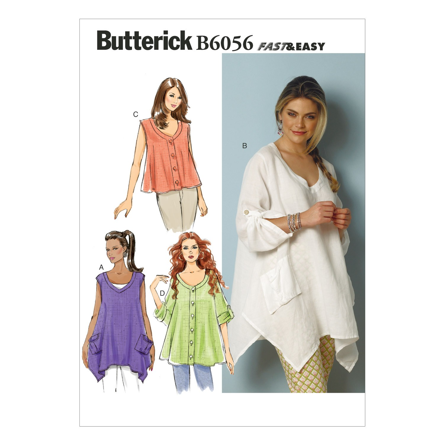 Butterick Sewing Pattern 6056 Misses' Loose Fitting Top
