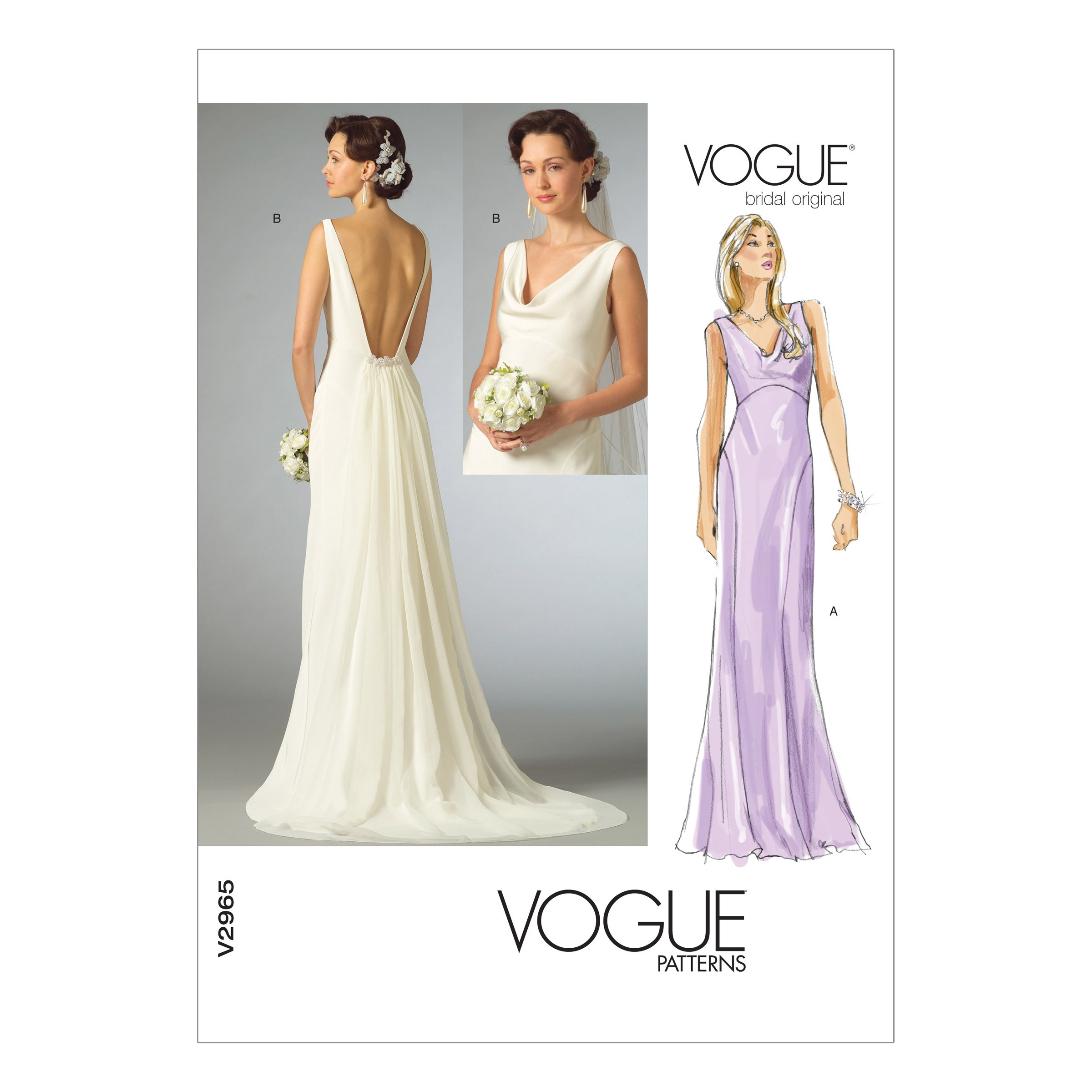 Vogue Sewing Pattern V2965 Women's Fitted Bias Floor Length Dress