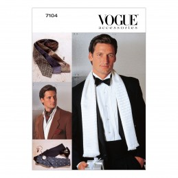 Vogue Sewing Pattern V7104 Men's Accessories Tie Scarf Cummerbund Occasion