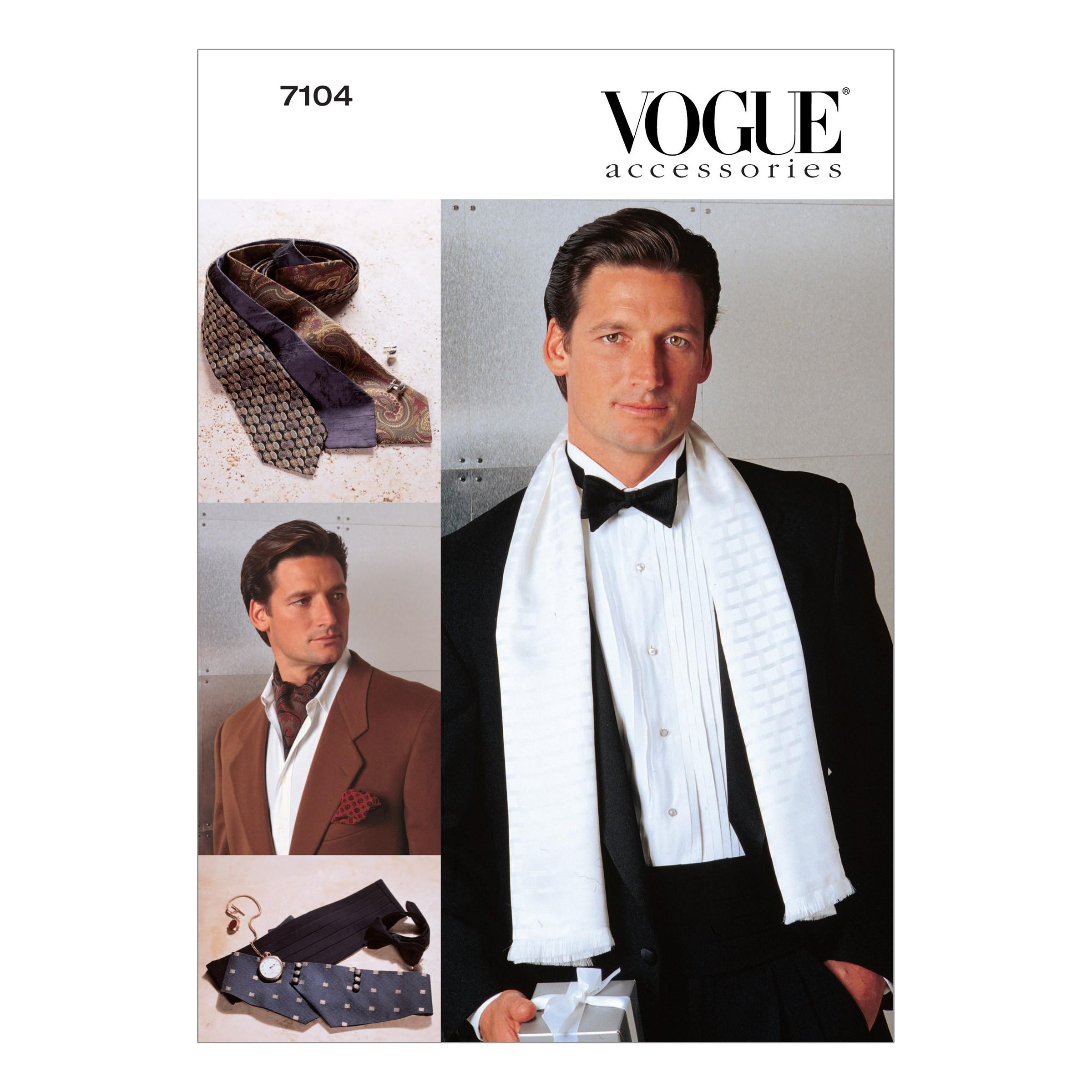 Vogue Sewing Pattern V7104 Men's Accessories Tie Scarf Cummerbund Occasion