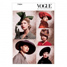 Vogue Sewing Pattern V7464 Women's Vintage Occasion Hats 1930s 1940s