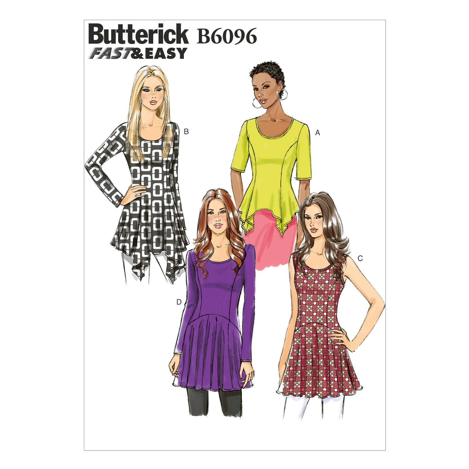 Butterick Sewing Pattern 6096 Misses' Semi Fitted Pullover Top