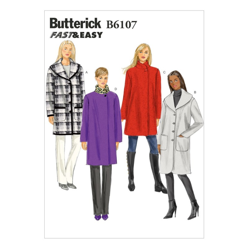 Butterick Sewing Pattern 6107 Misses' Loose Fitting Unlined Jacket Coat