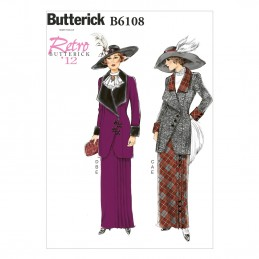 Butterick Sewing Pattern 6108 Misses' Jacket Coat Neck Ruffle & Skirt