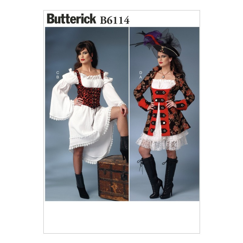 Butterick Sewing Pattern 6114 Misses' Costume Barmaid Pirate