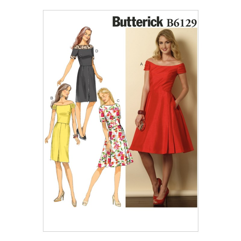 Butterick Sewing Pattern 6129 Misses' Petite Dress Flared Skirt