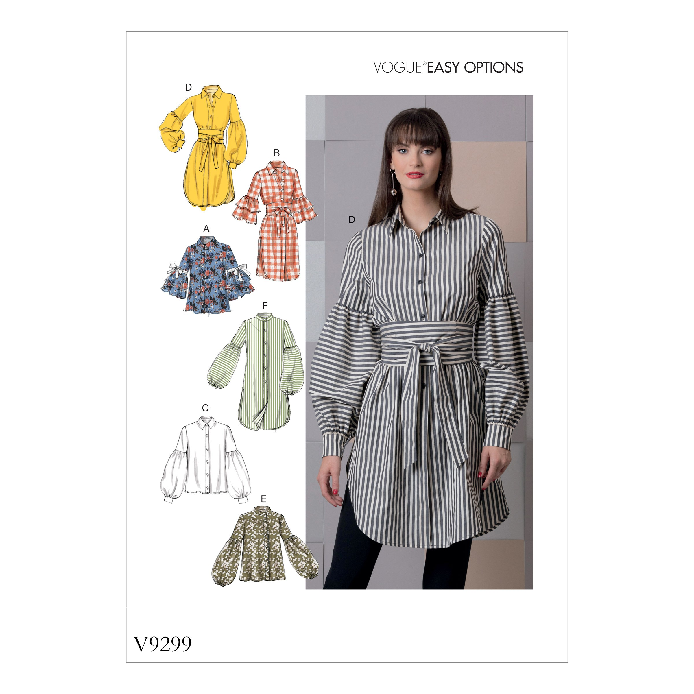 Vogue Sewing Pattern V9299 Women's Top With Belt
