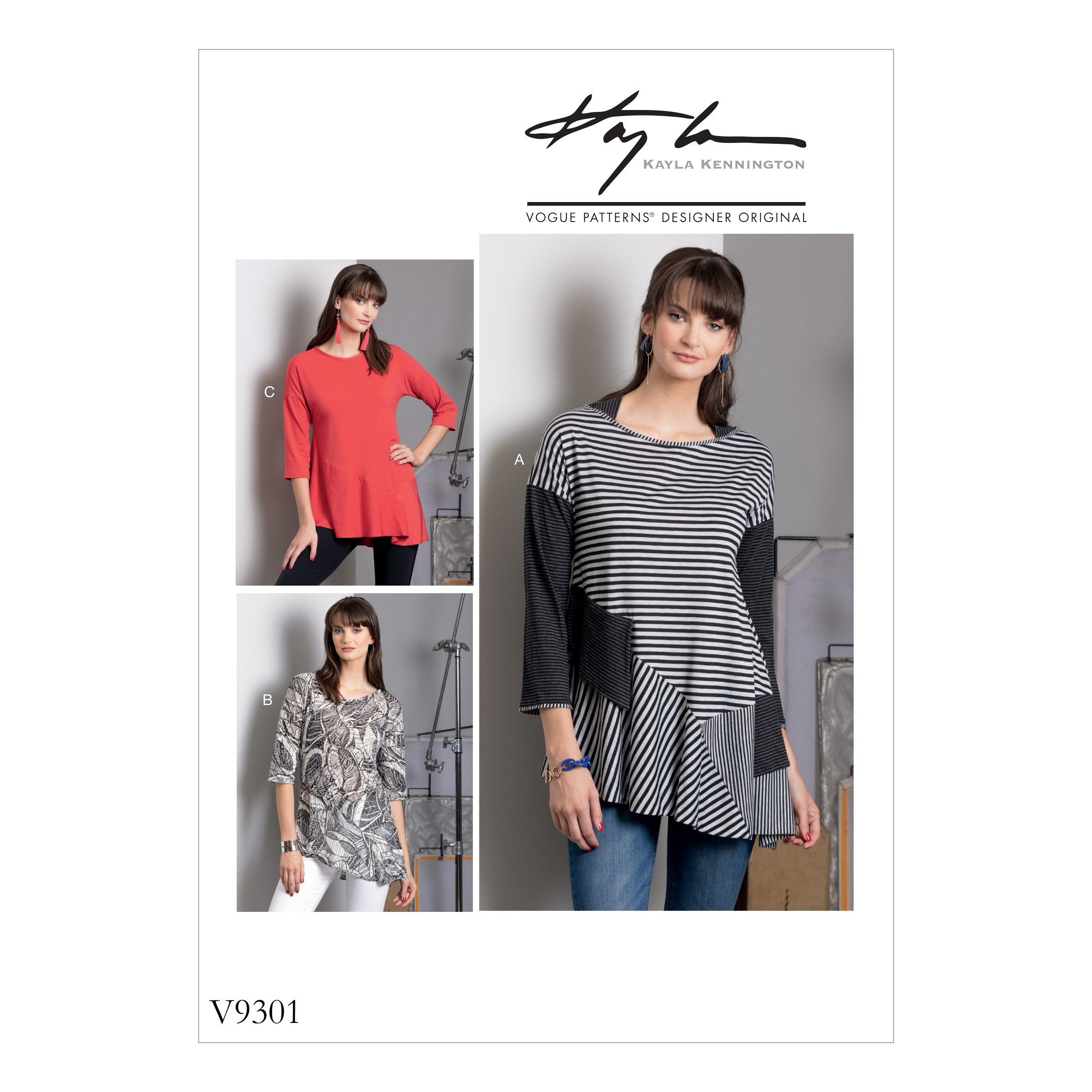 Vogue Sewing Pattern V9301 Women's Top With Neck & Sleeve Variations