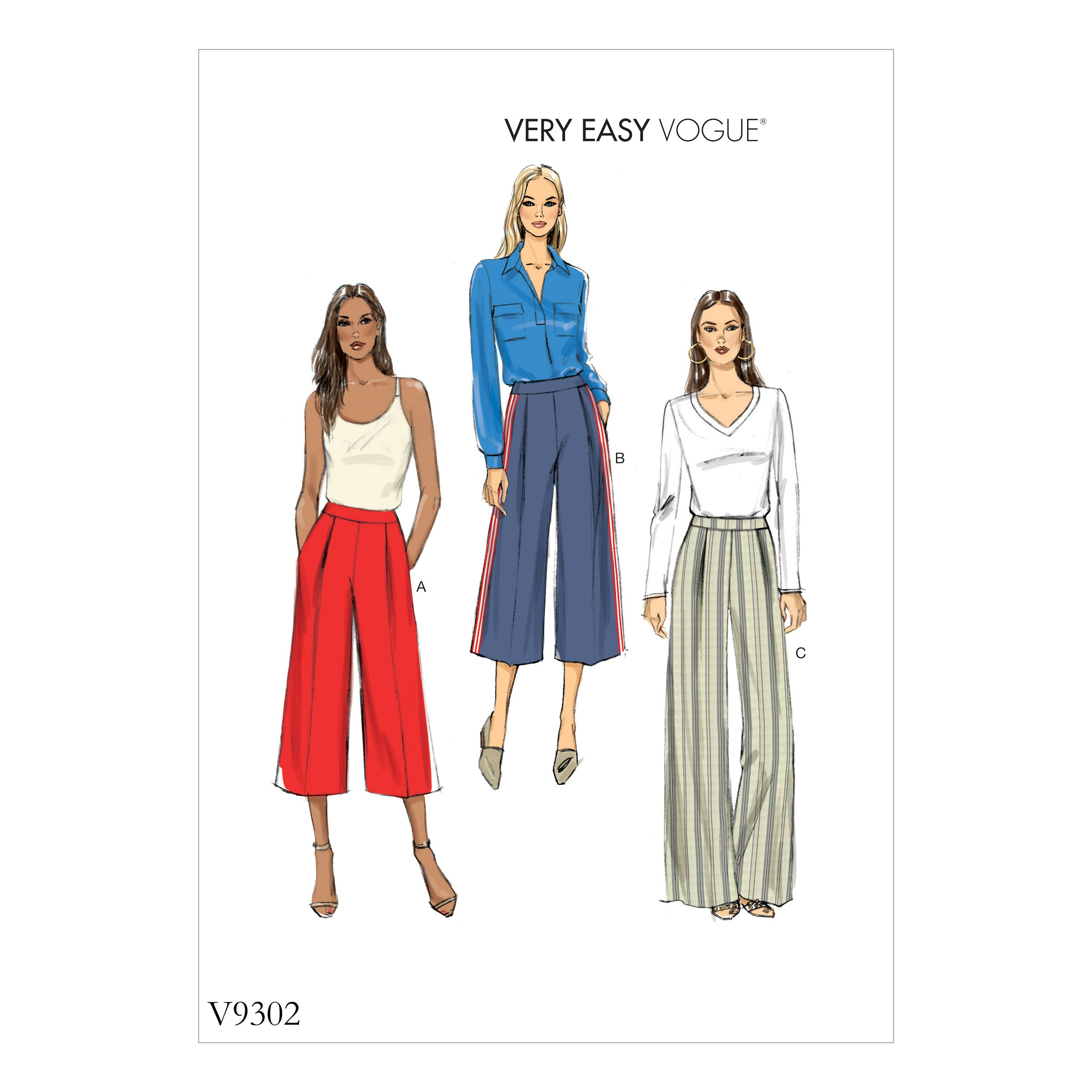 Vogue Sewing Pattern V9302 Women's Trousers With Front Pleats & Zip