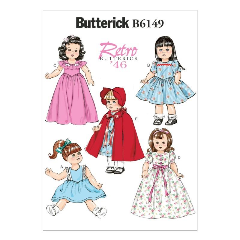 "Butterick Sewing Pattern 6149 18"" Doll Clothes Dress Cape Bonnet"