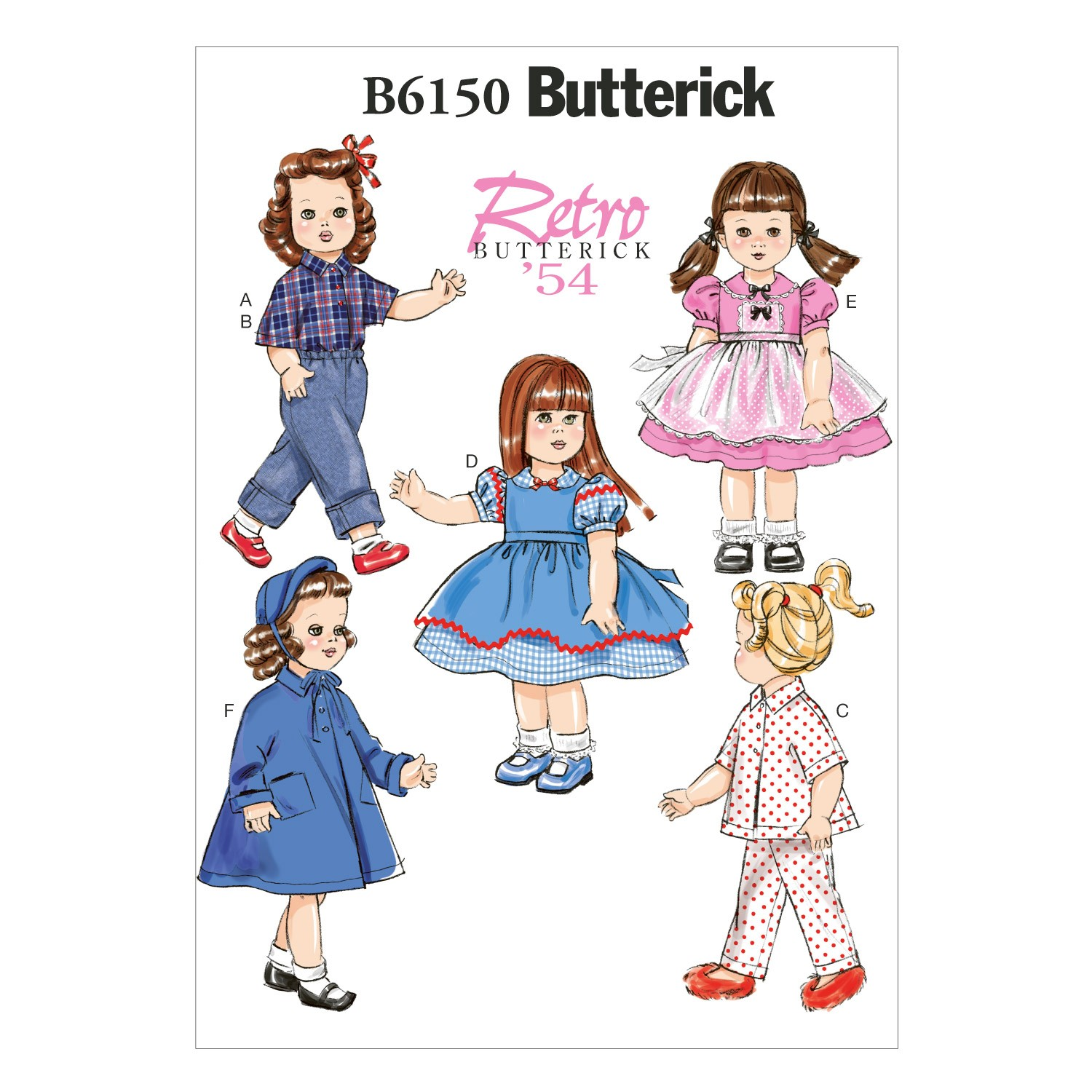 "Butterick Sewing Pattern 6150 18"" Doll Clothes Dress Pyjamas Top & Trousers"