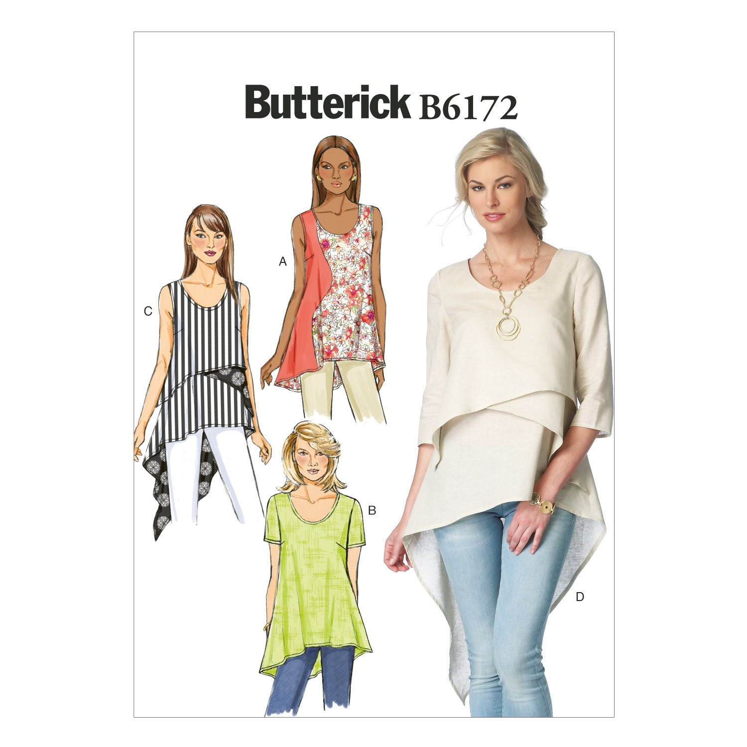 Butterick Sewing Pattern 6172 Misses' Loose Fitting Top & Tunic