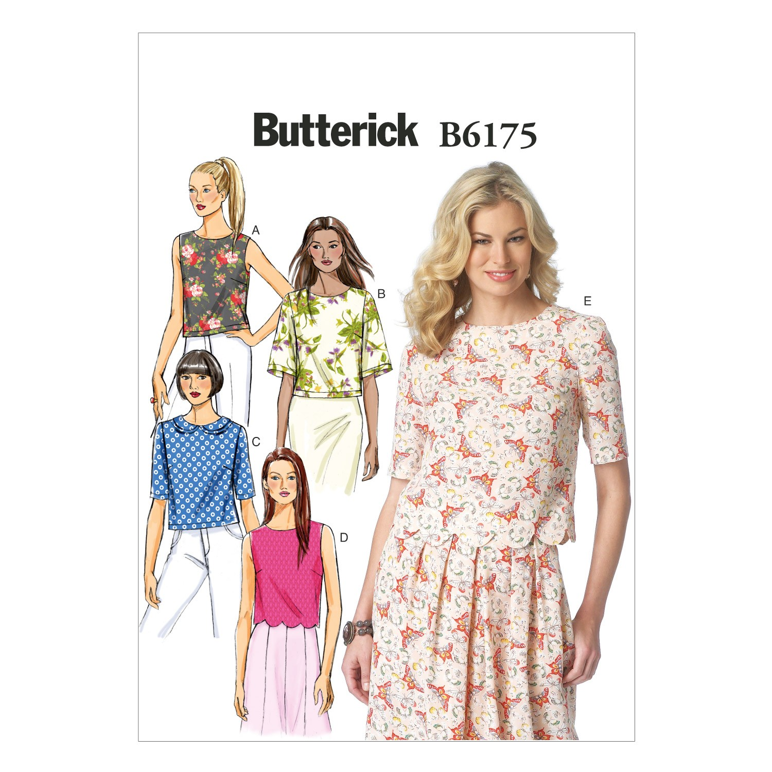 Butterick Sewing Pattern 6175 Misses' Semi Fitted Pullover Top